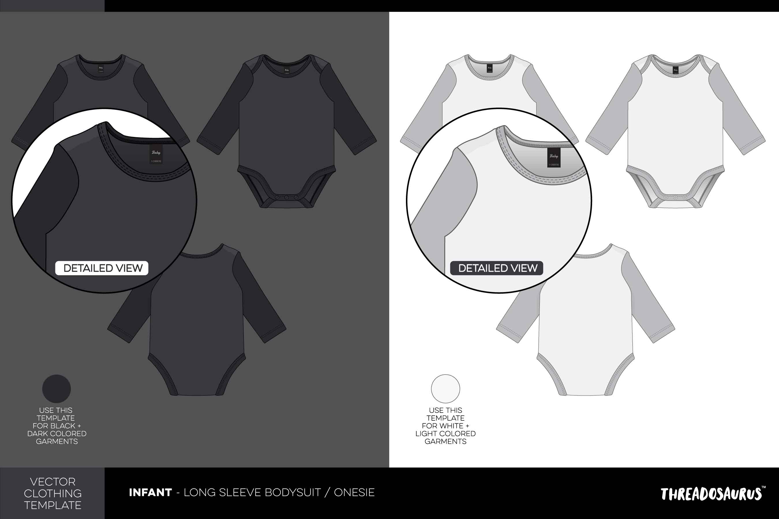 Infant long sleeve bodysuit template onesie vector pack
