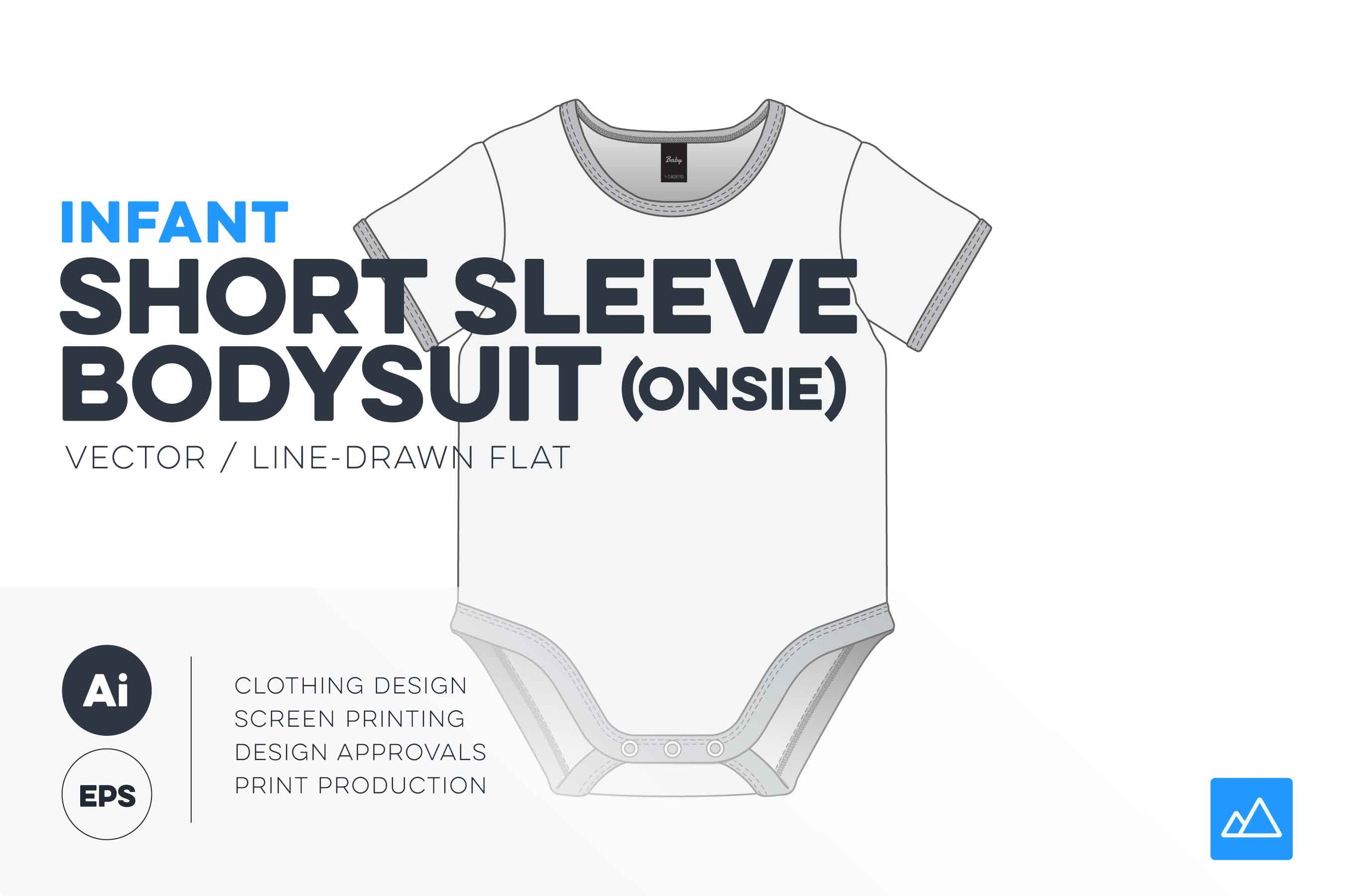 Infant short sleeve bodysuit template onesie vector pack HERO v2