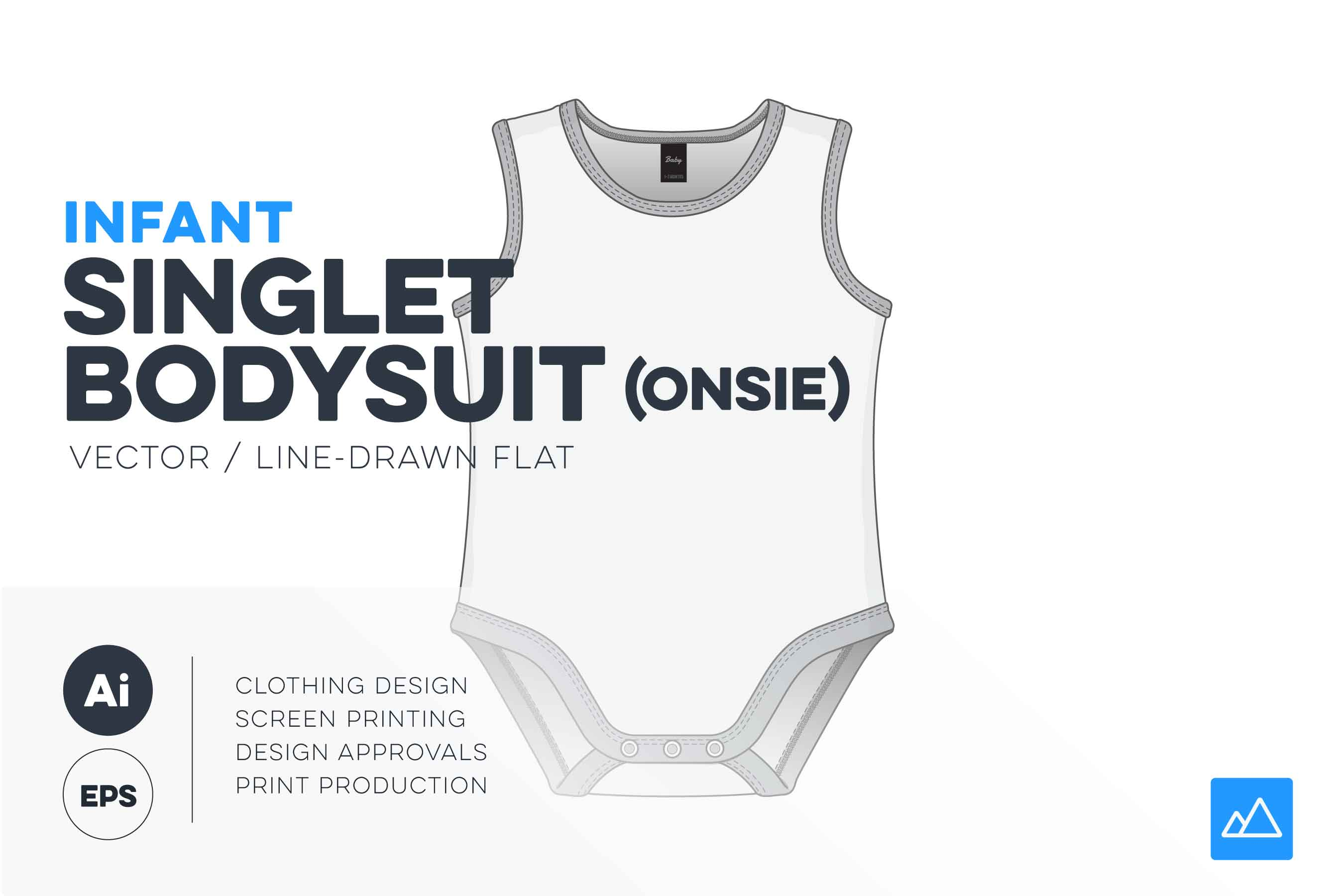 Infant singlet bodysuit template vector pack baby onesieHERO