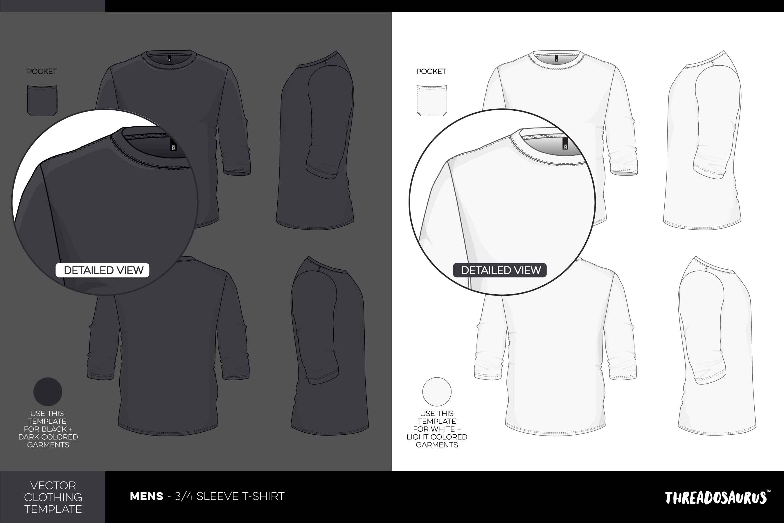 Mens 3/4 sleeve t-shirt template vector pack