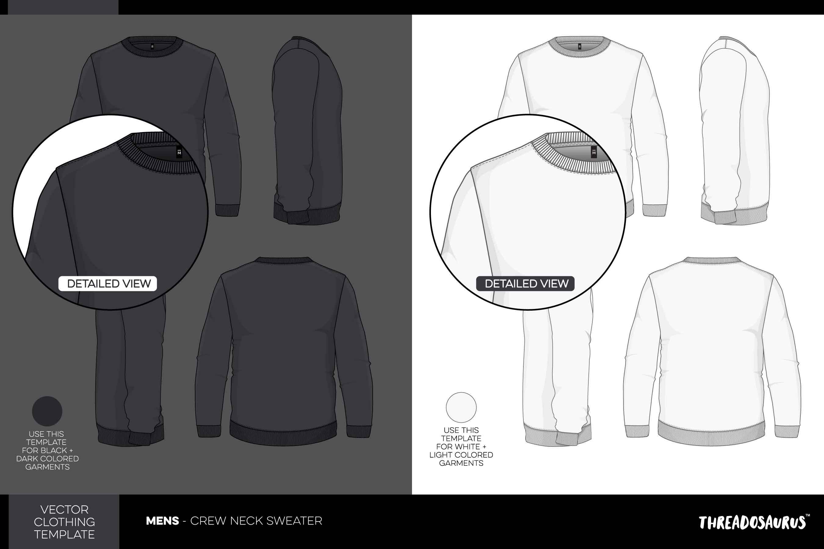 Mens Crew Neck Sweater Template - VECTOR Pack