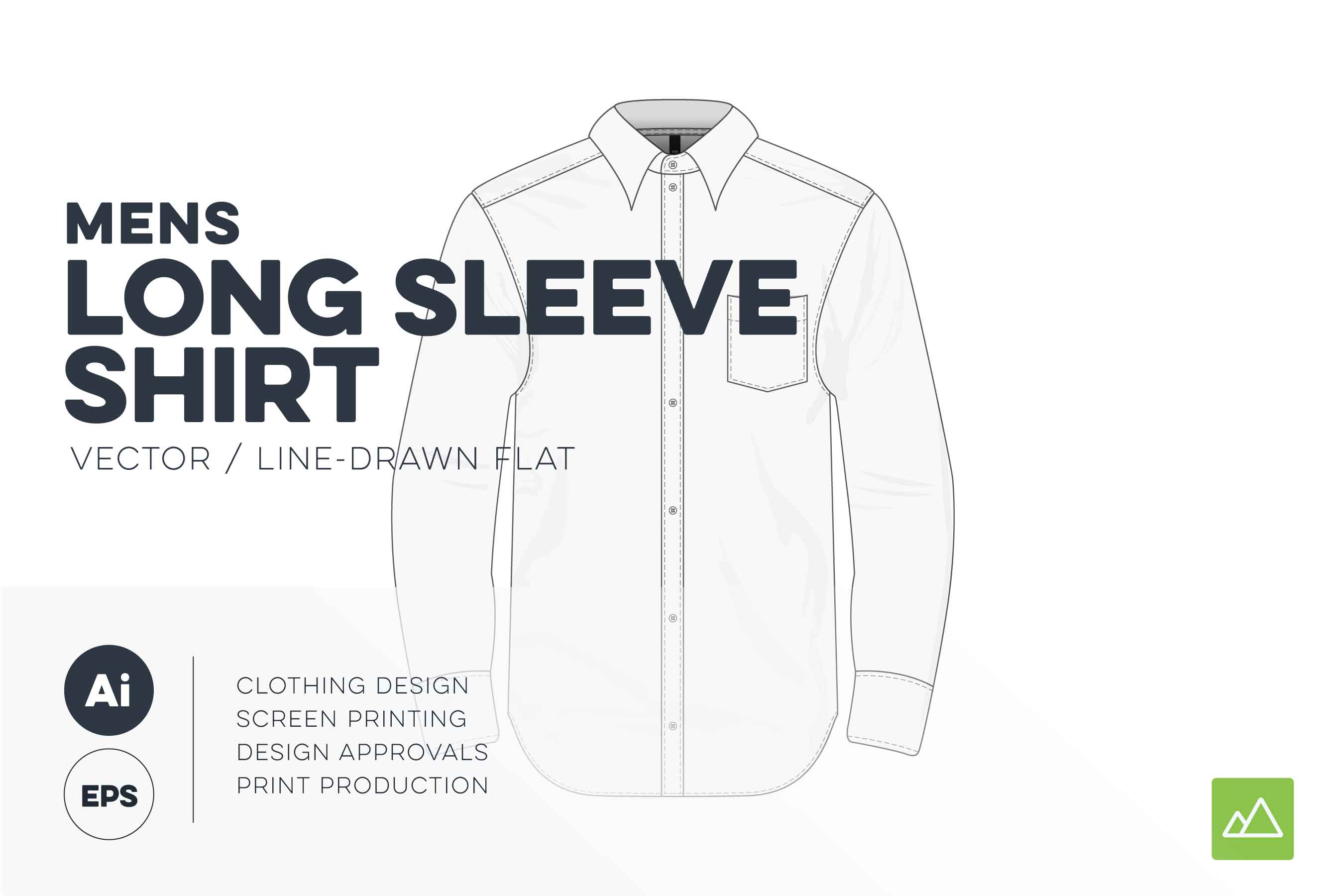 Mens long sleeve shirt template vector pack