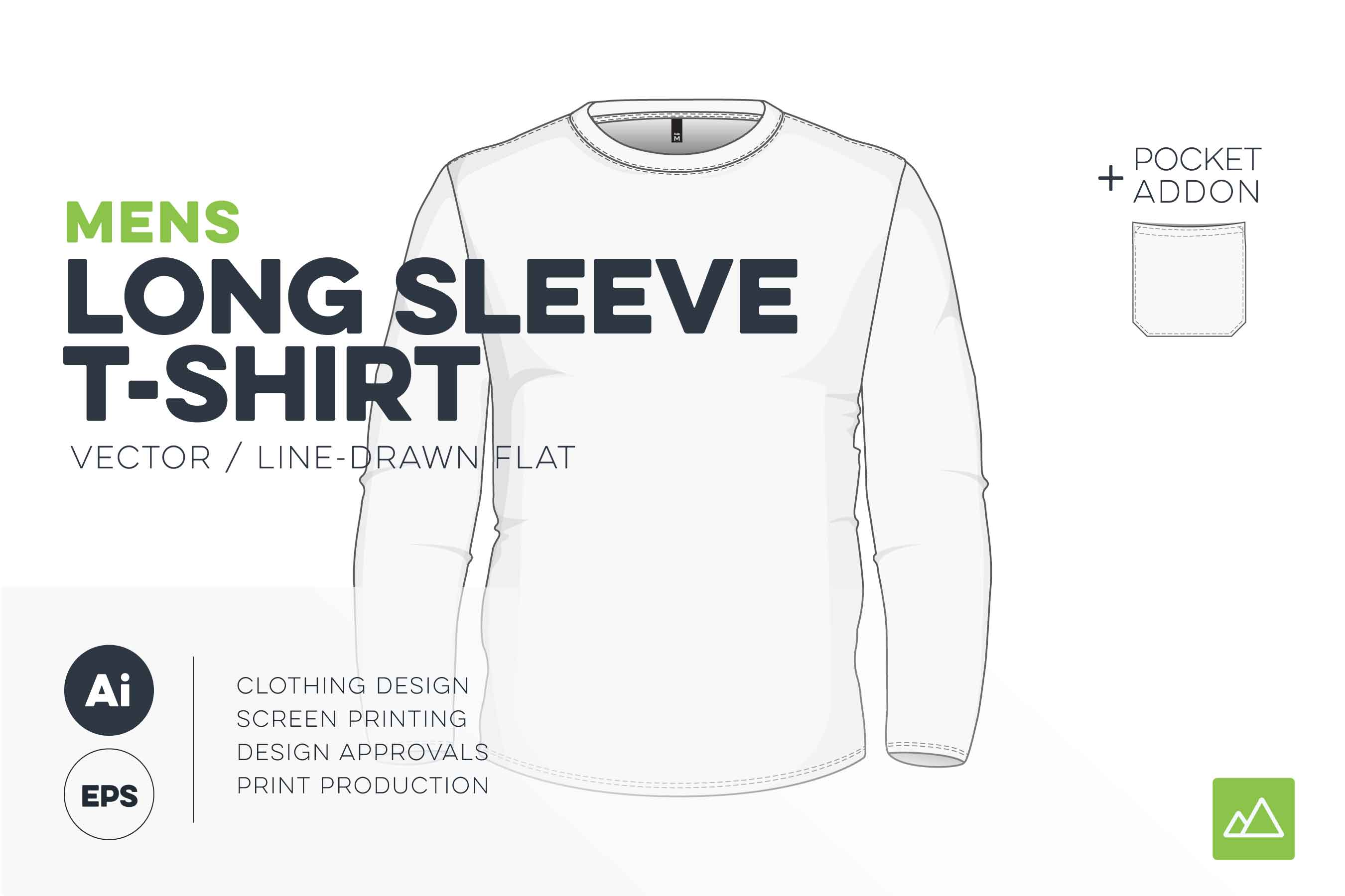 Mens long sleeve t-shirt template vector pack