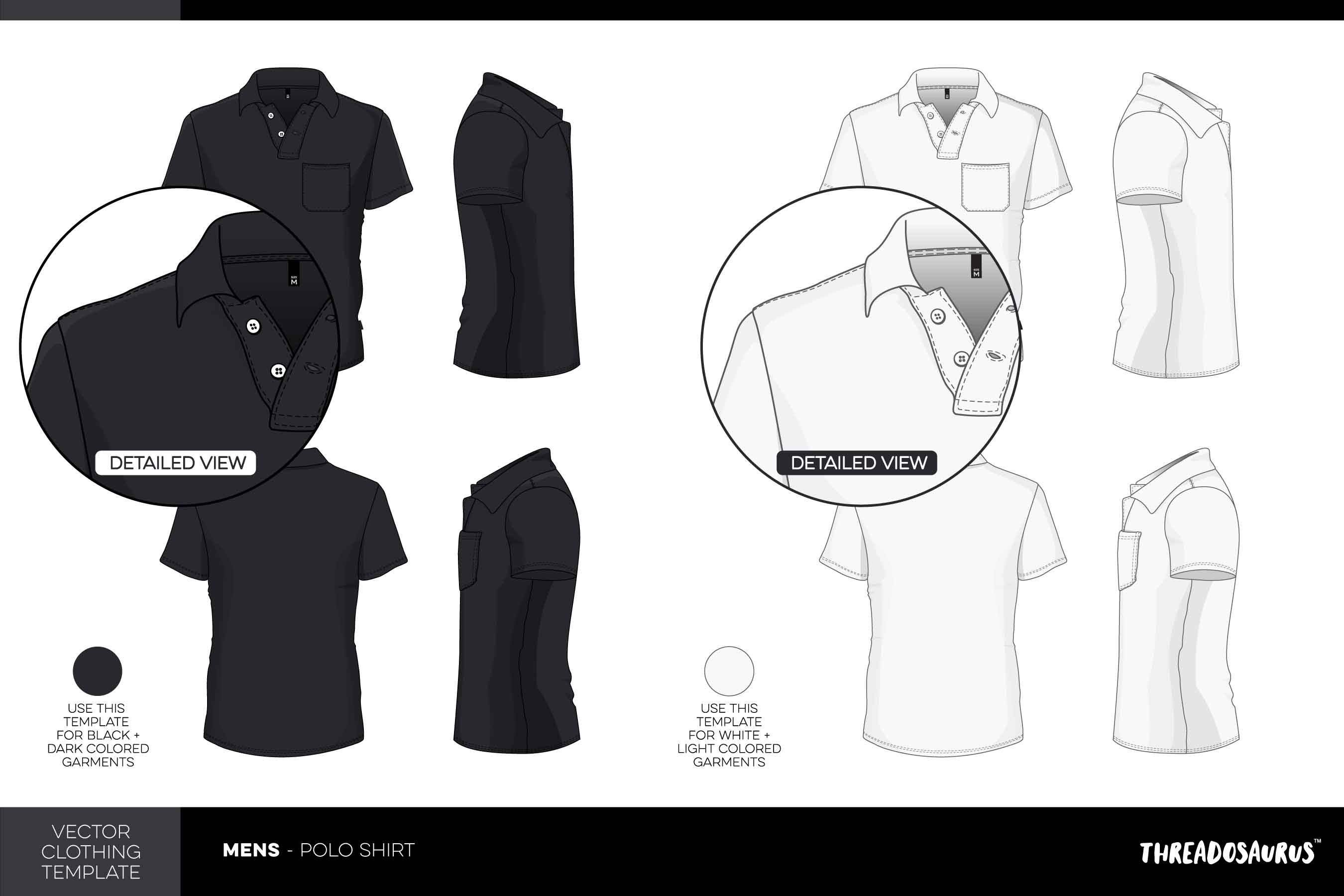 Mens Polo Shirt Template - VECTOR Pack