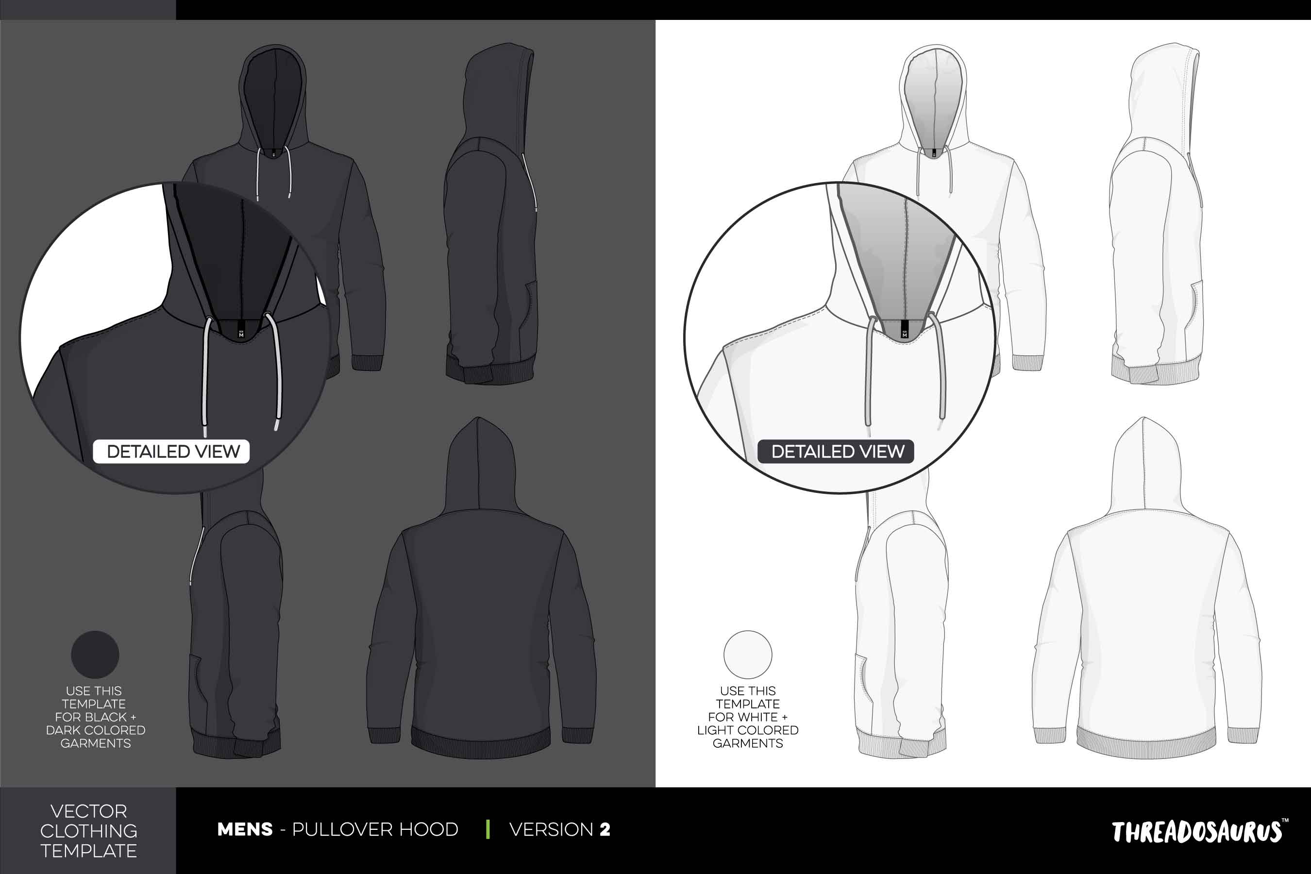Mens Pullover Hood Template Version 2 – Vector Pack