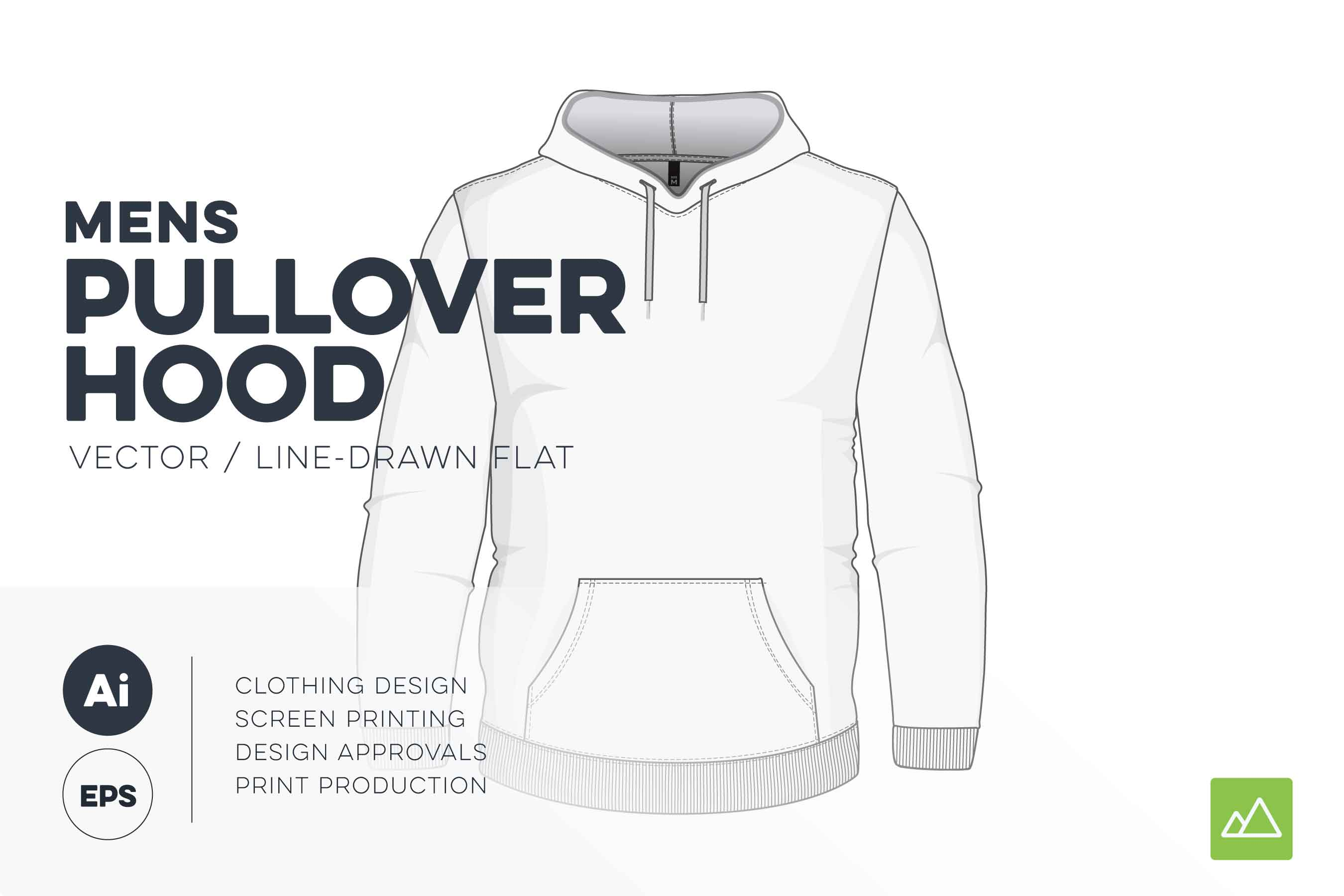 Mens pullover hoodie template vector pack