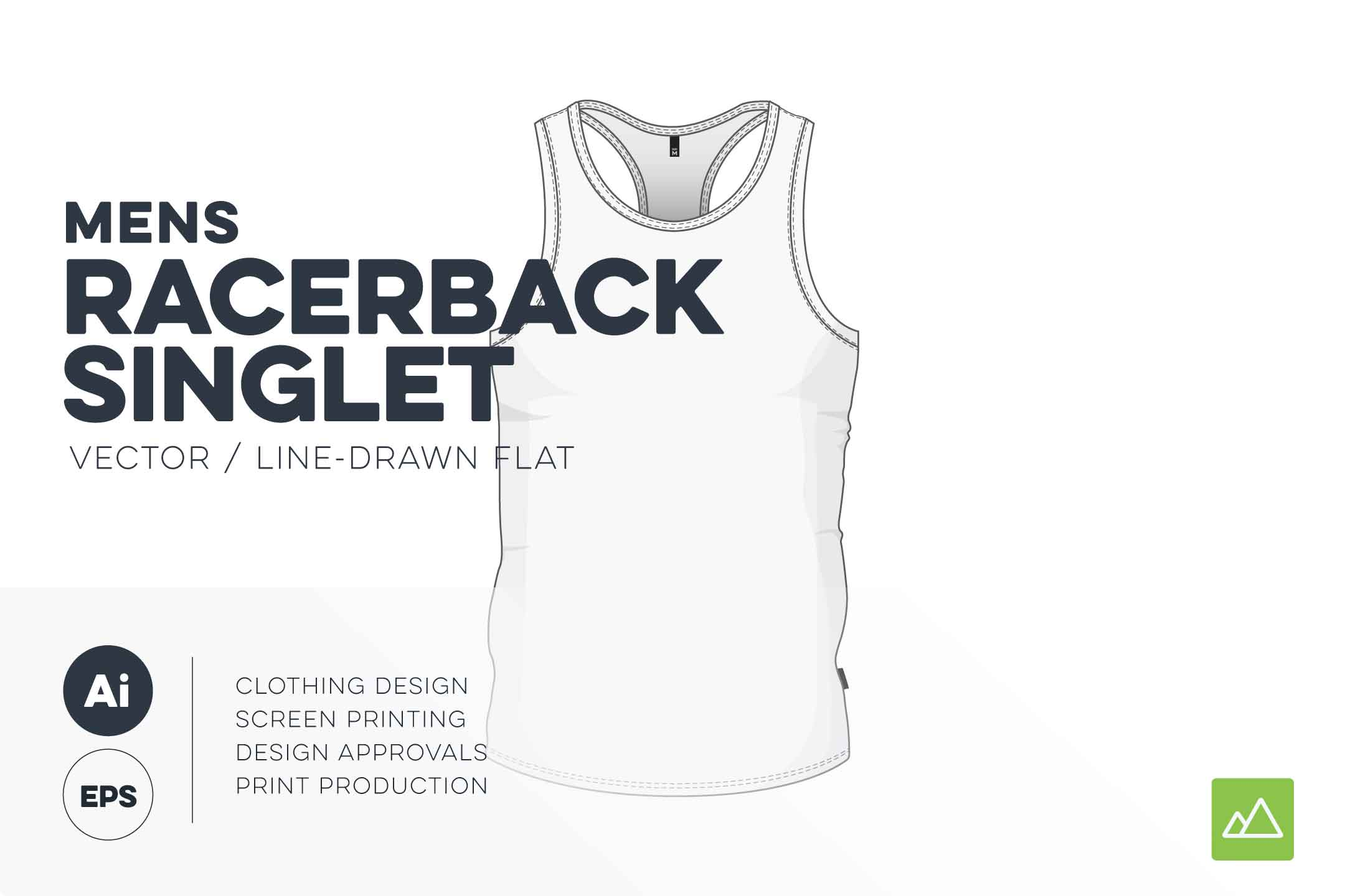 Mens racerback singlet template vector pack