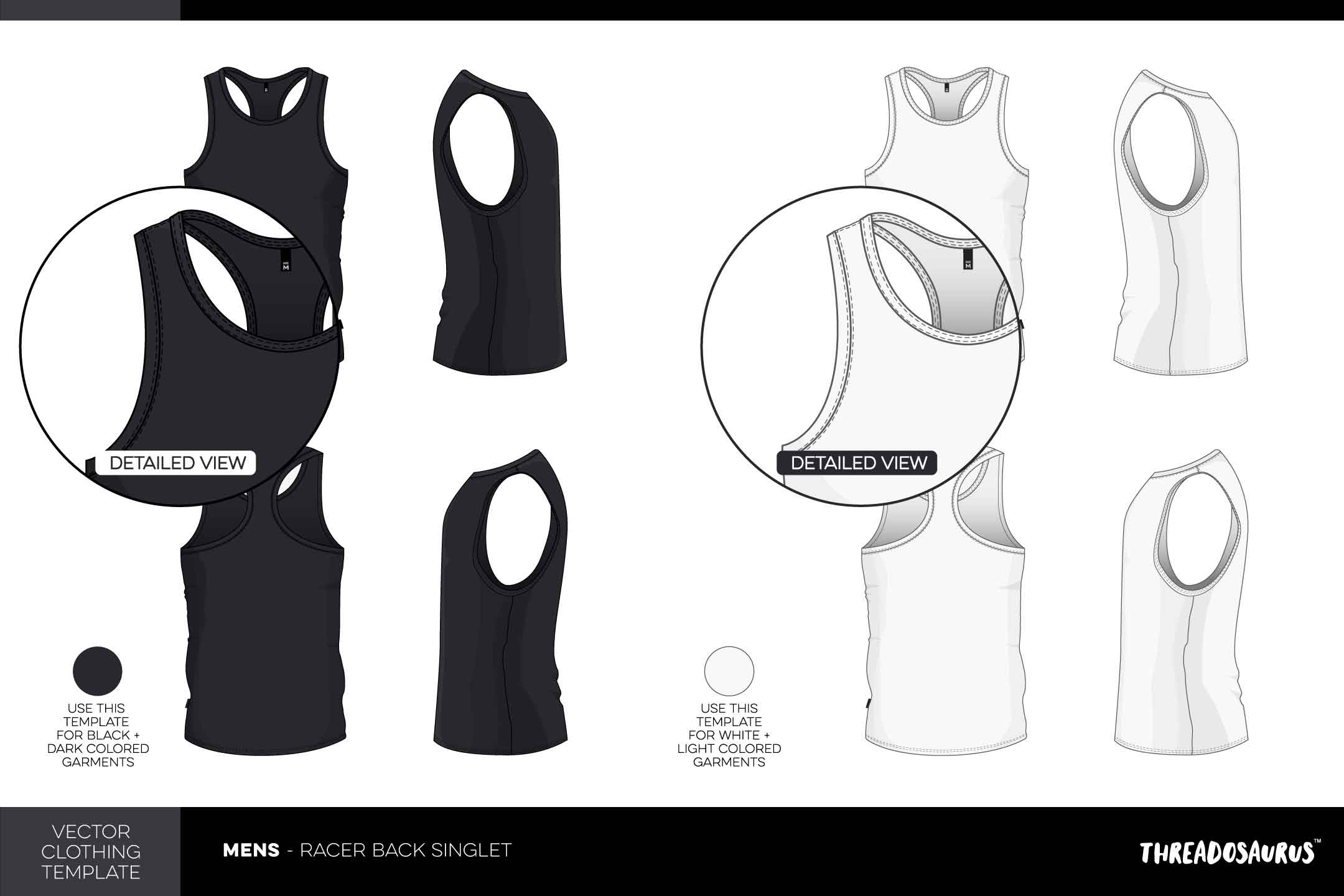 Mens racerback singlet template - vector pack