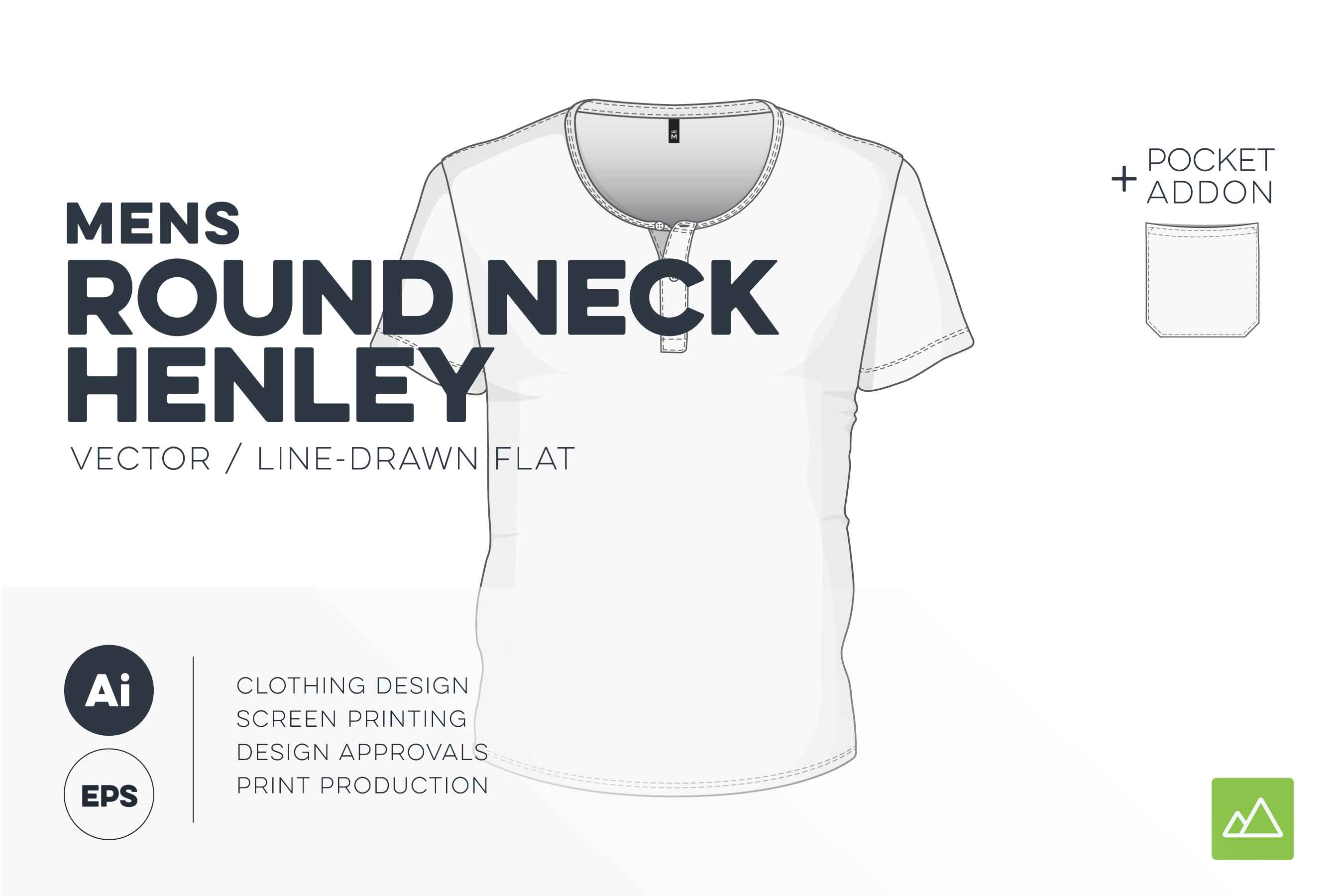 Mens round neck henley t-shirt template vector pack