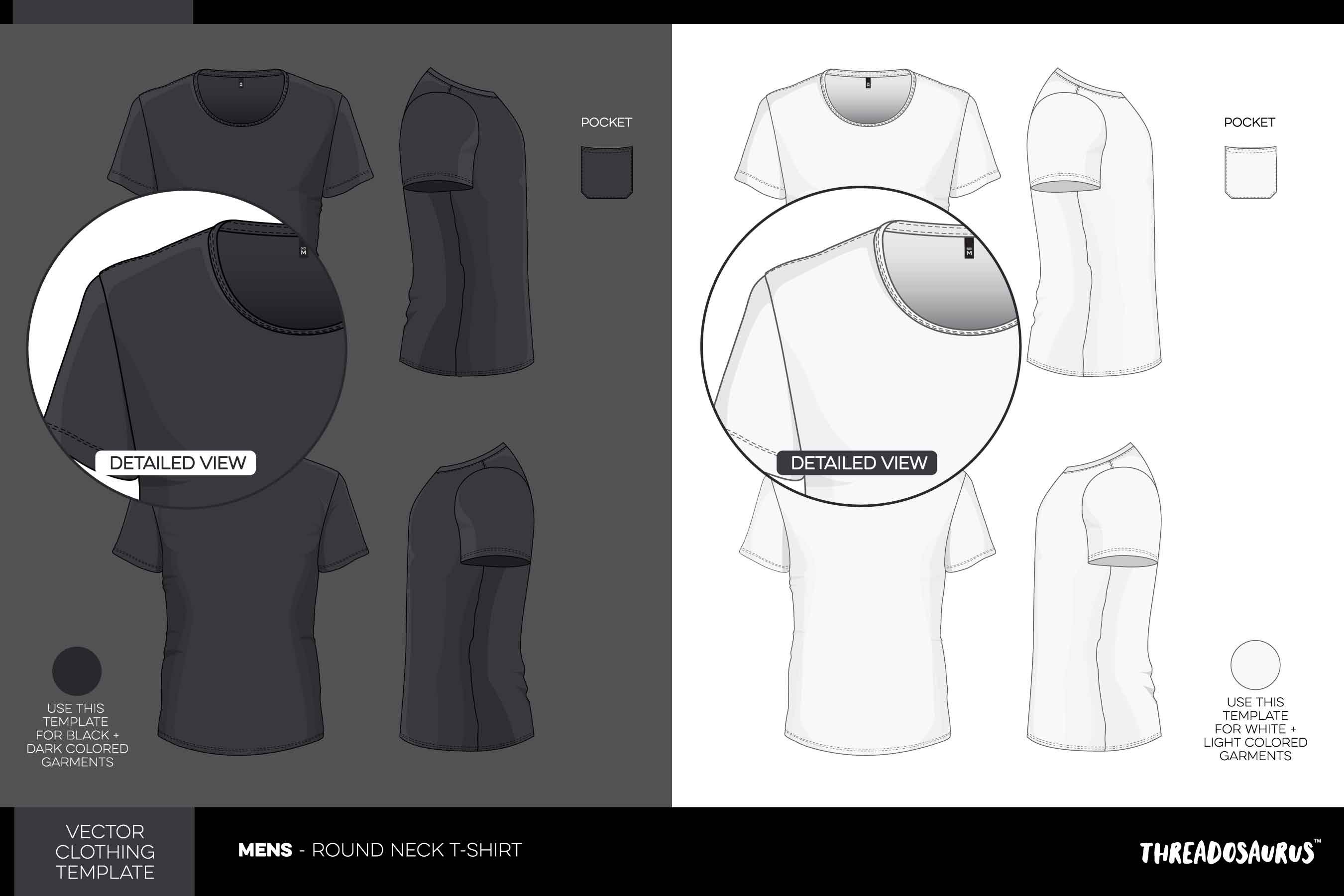 Mens Round Neck T-Shirt Template VECTOR Pack with Pocket Add-on