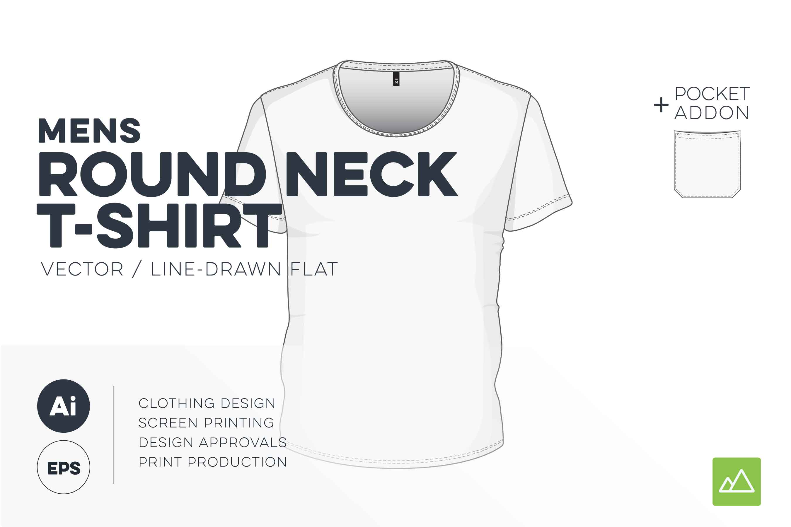 Mens round neck t-shirt template vector pack