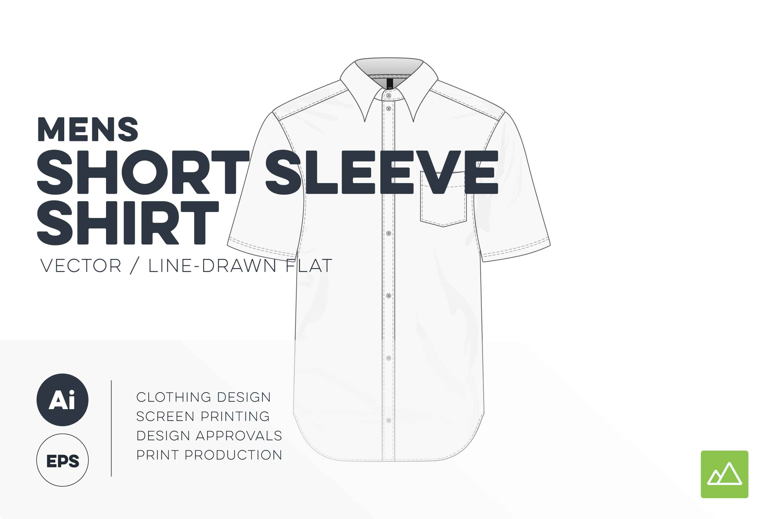 Mens short sleeve shirt template vector pack
