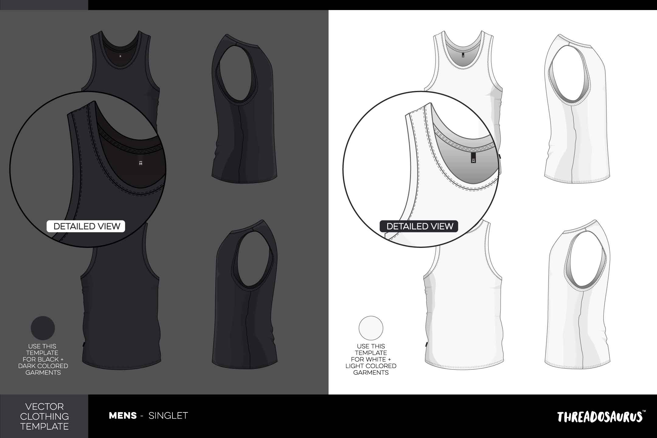 Mens Singlet Template - VECTOR Pack