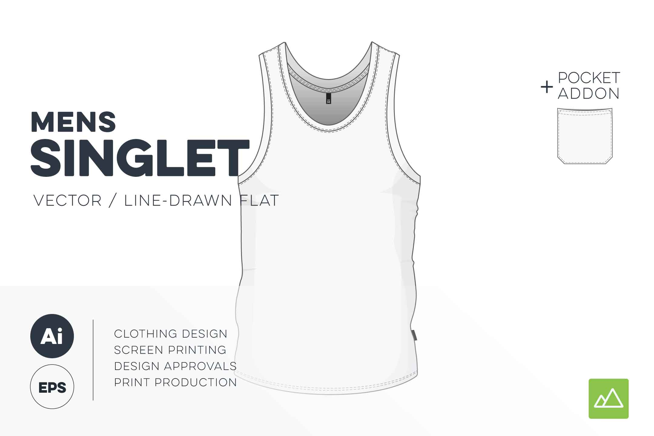 Mens singlet template vector pack