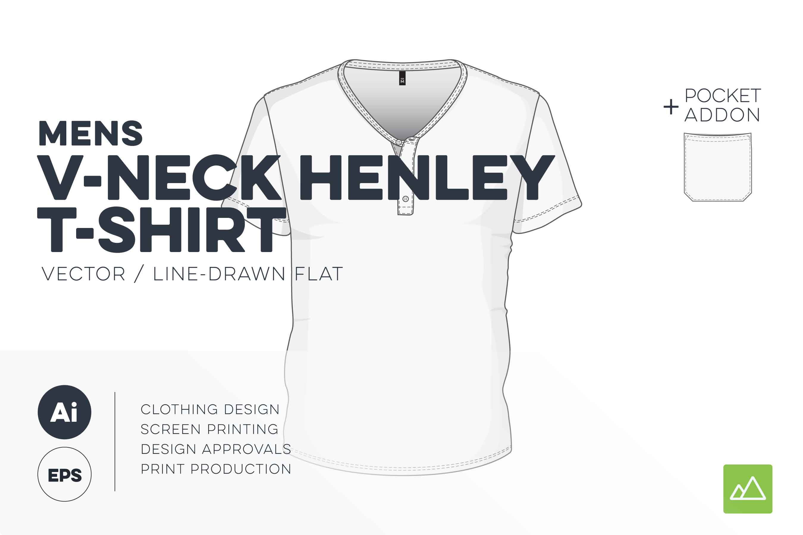 Mens v-neck henley t-shirt-template vector pack