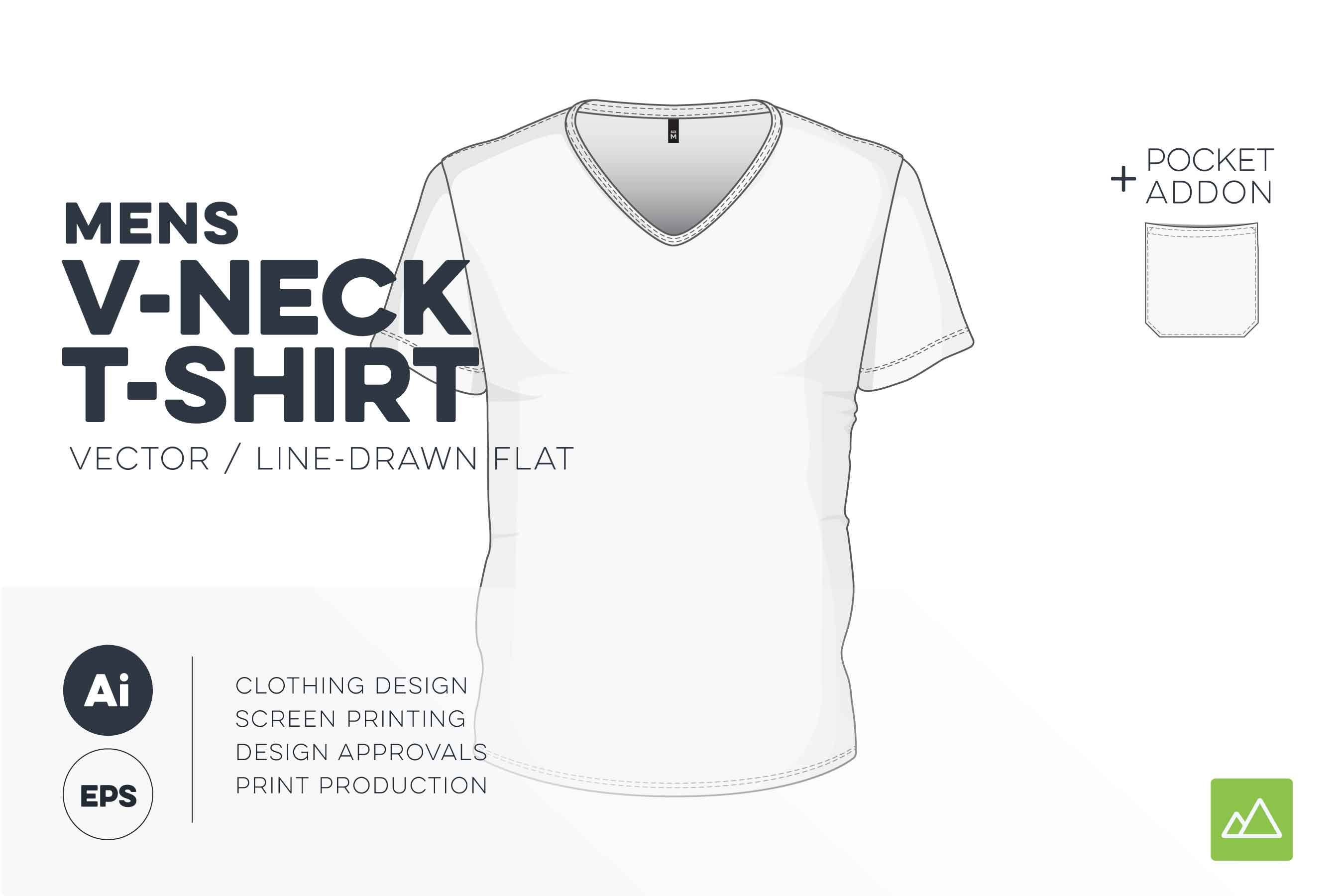 Mens v-neck t-shirt template vector pack