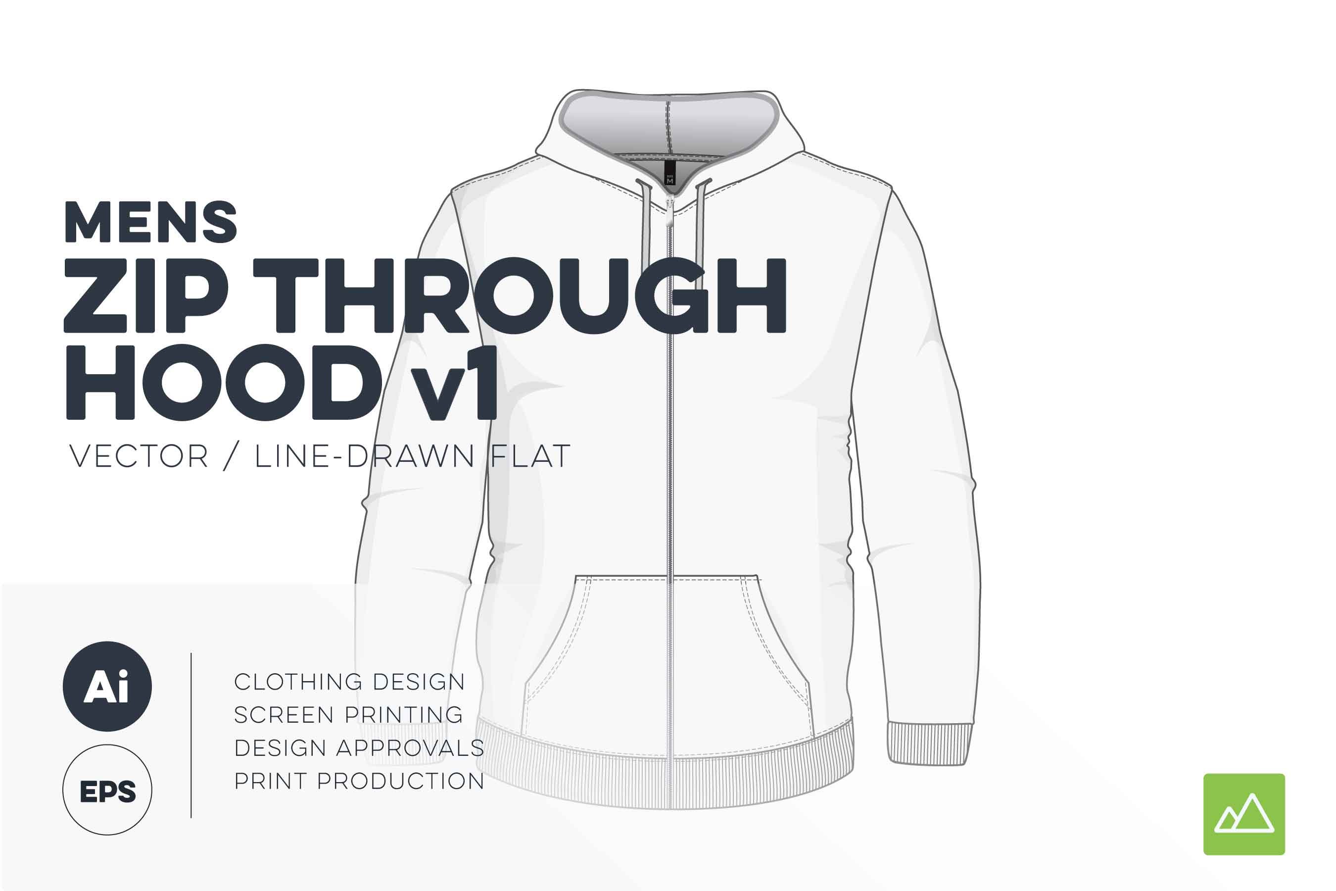 Mens zip through hoodie template vector pack