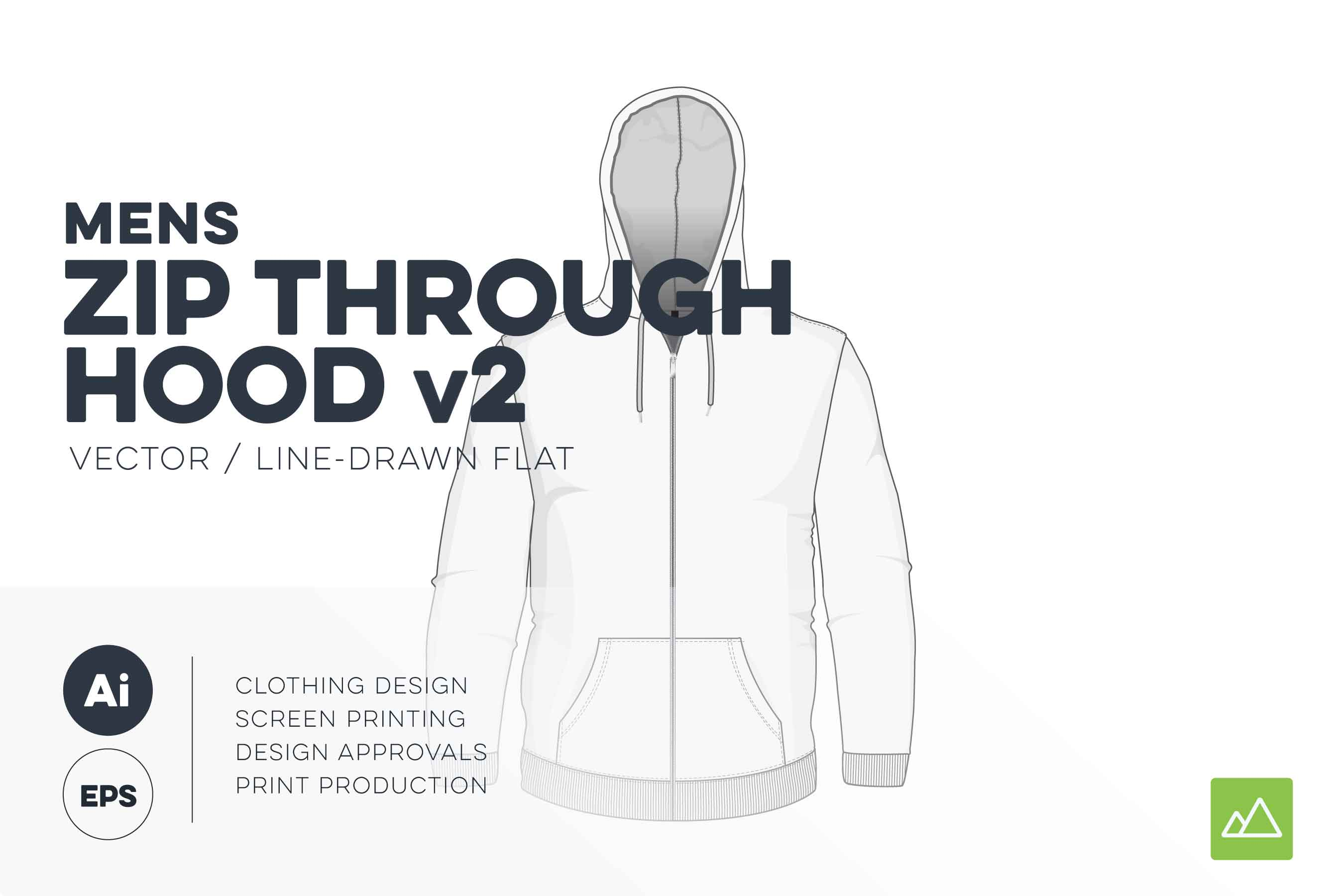 Mens zip up hoodie template vector pack v2