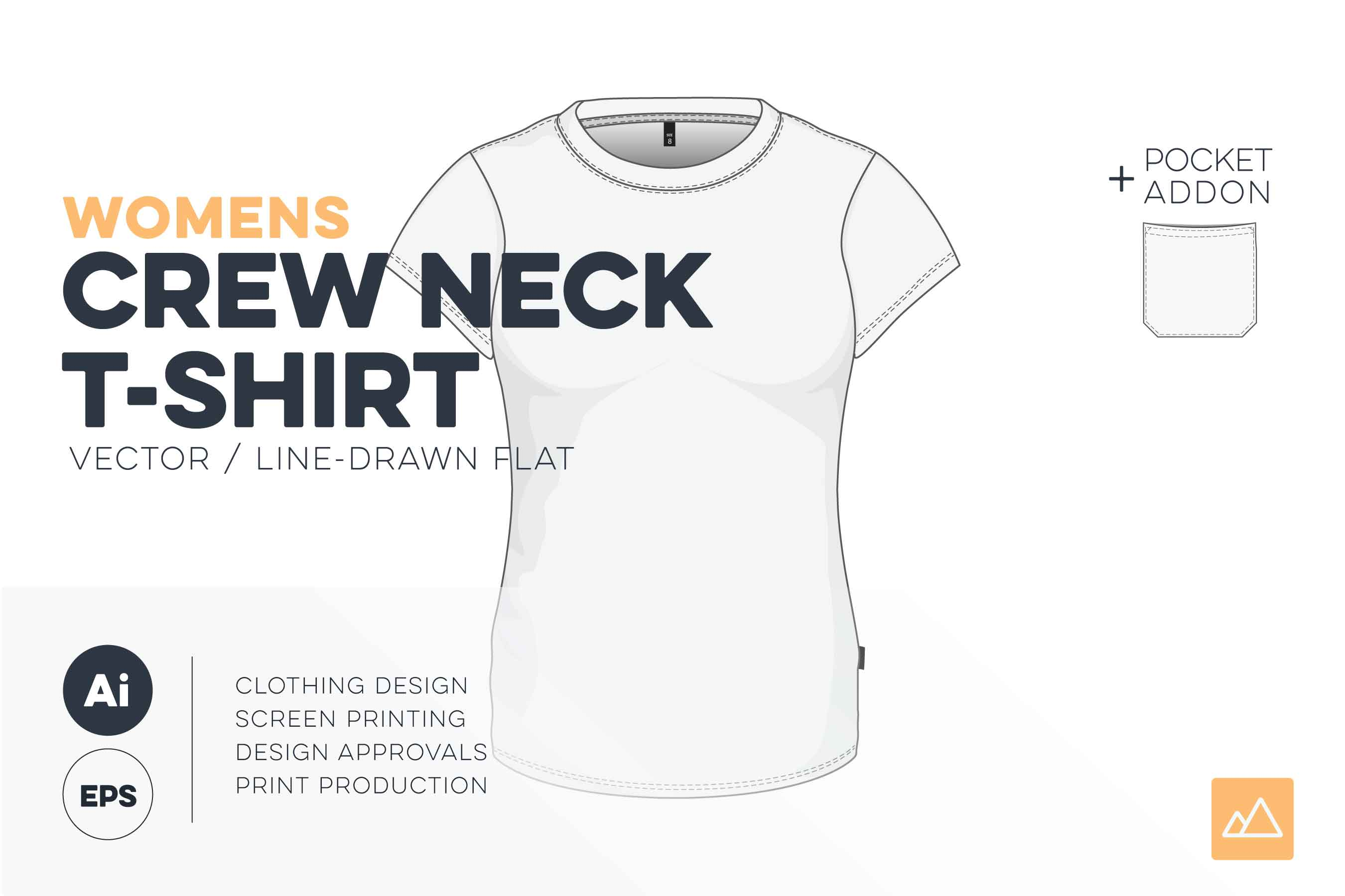 Womens crew neck t-shirt template vector pack