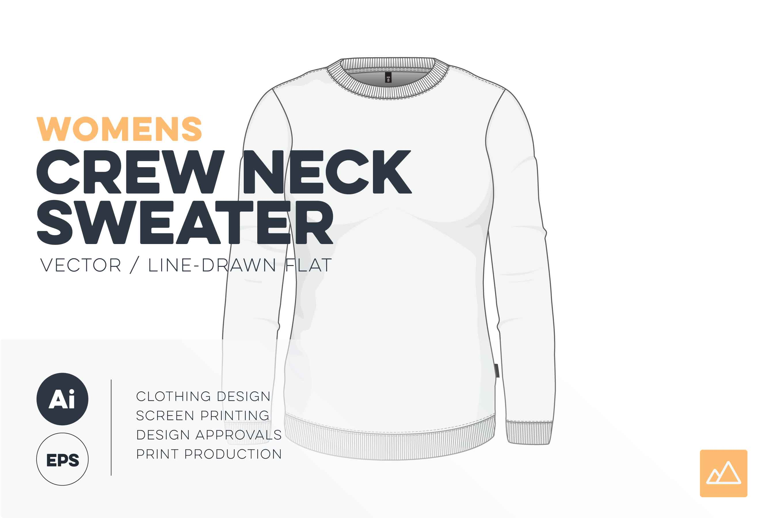 Womens Crew Neck Sweatshirt Template , VECTOR Pack ,