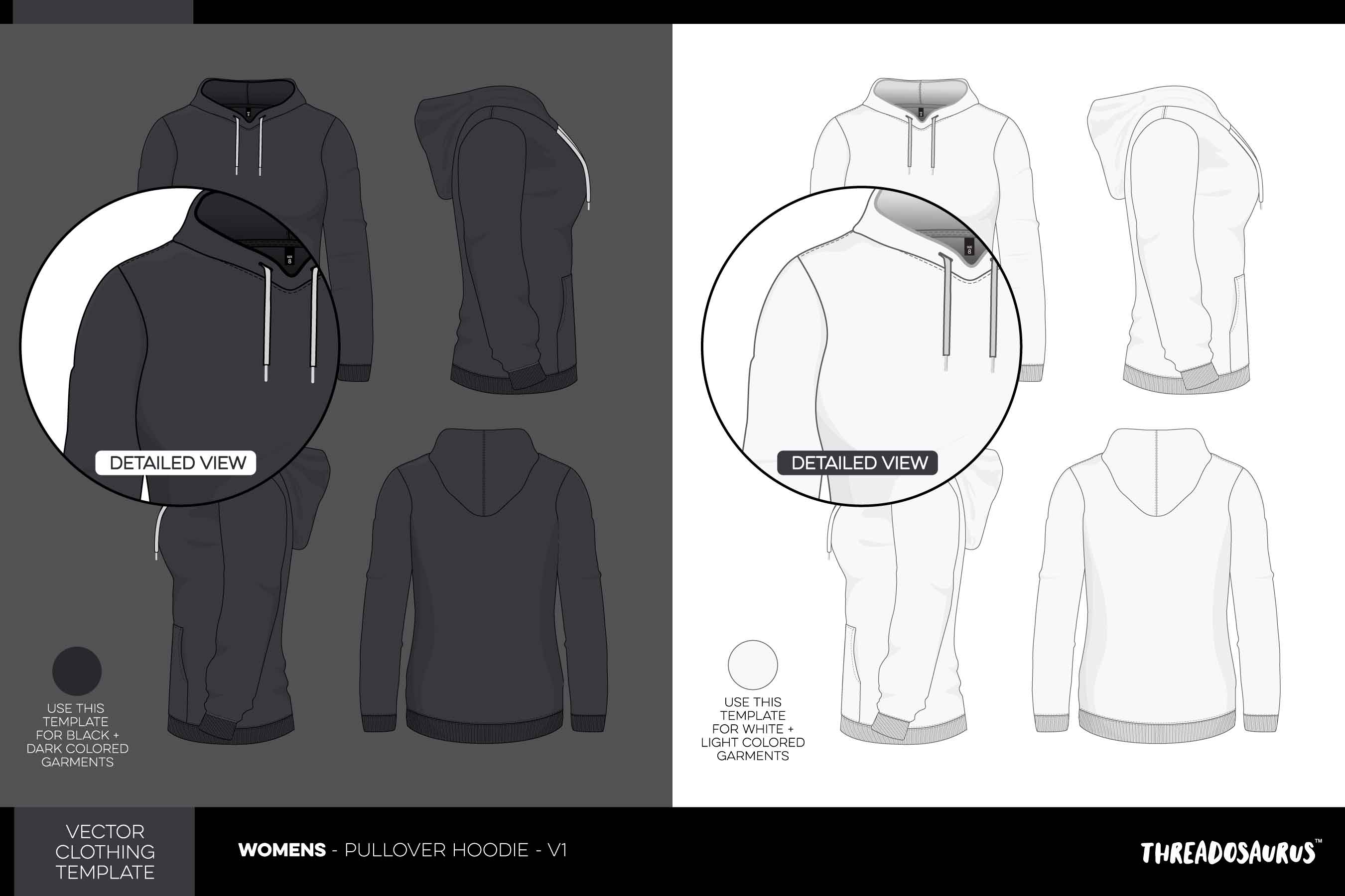 Womens pullover hood template vector pack