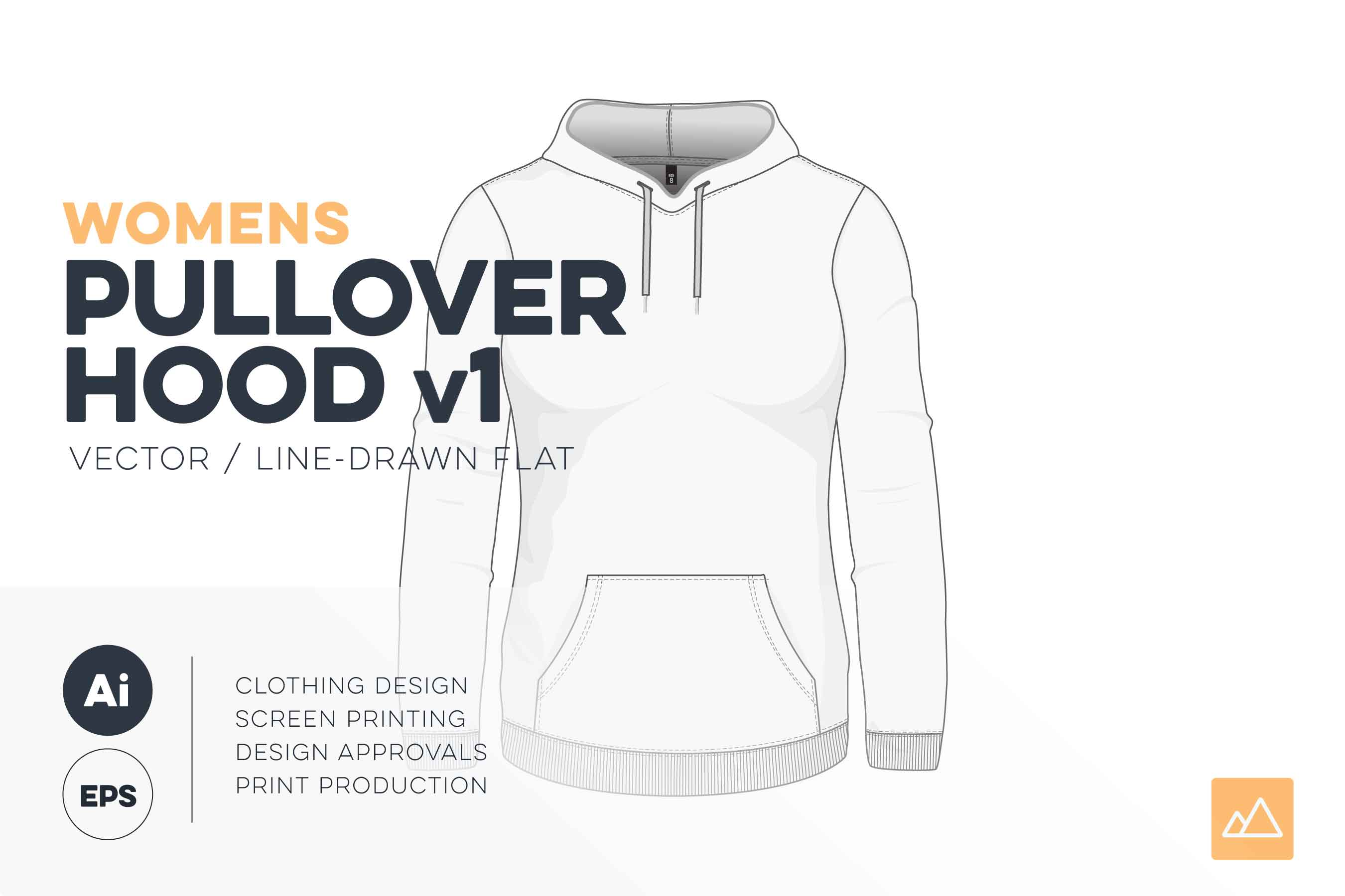 Womens pullover hoodie template vector pack HERO
