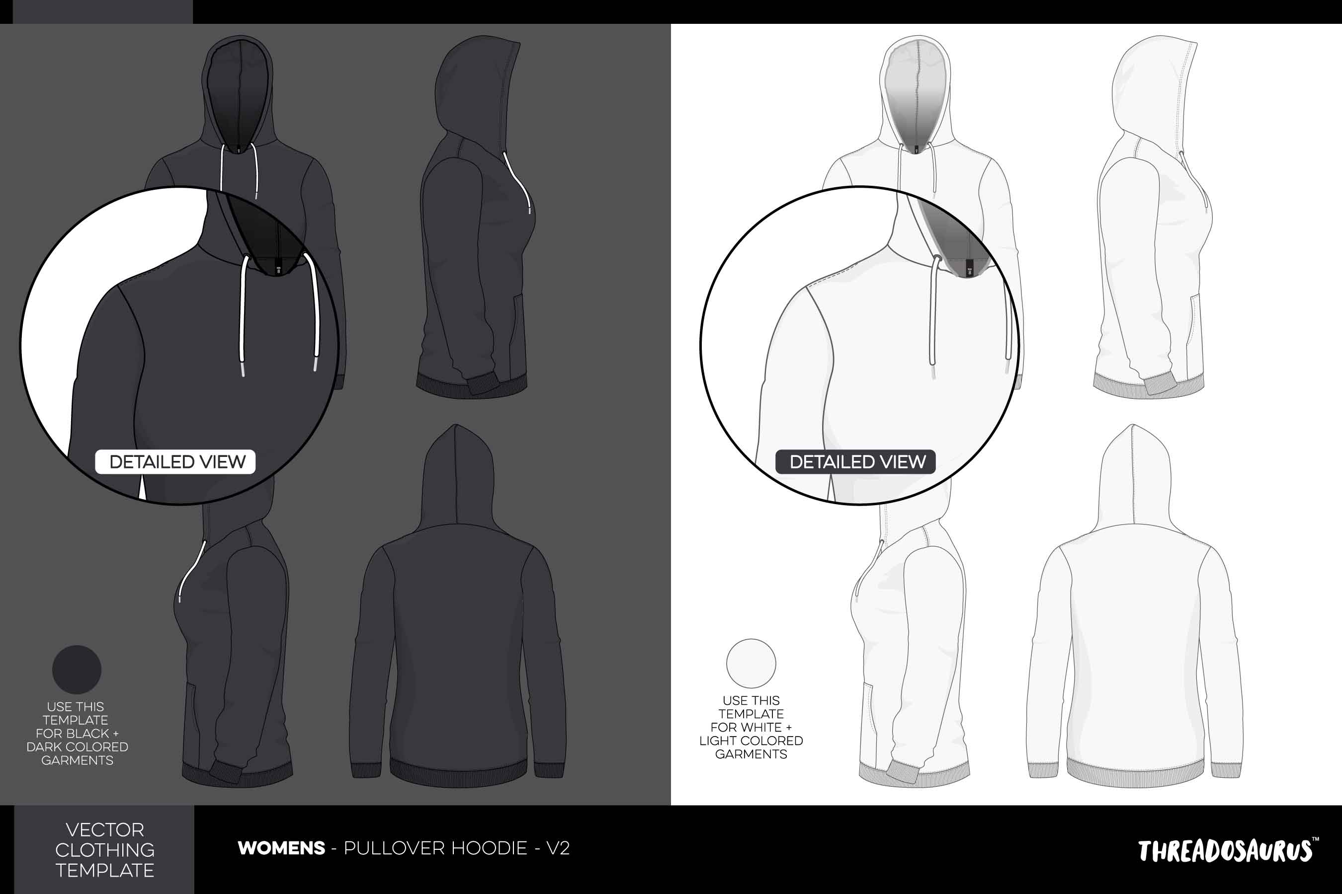 Womens pullover hoodie template version 2 vector pack