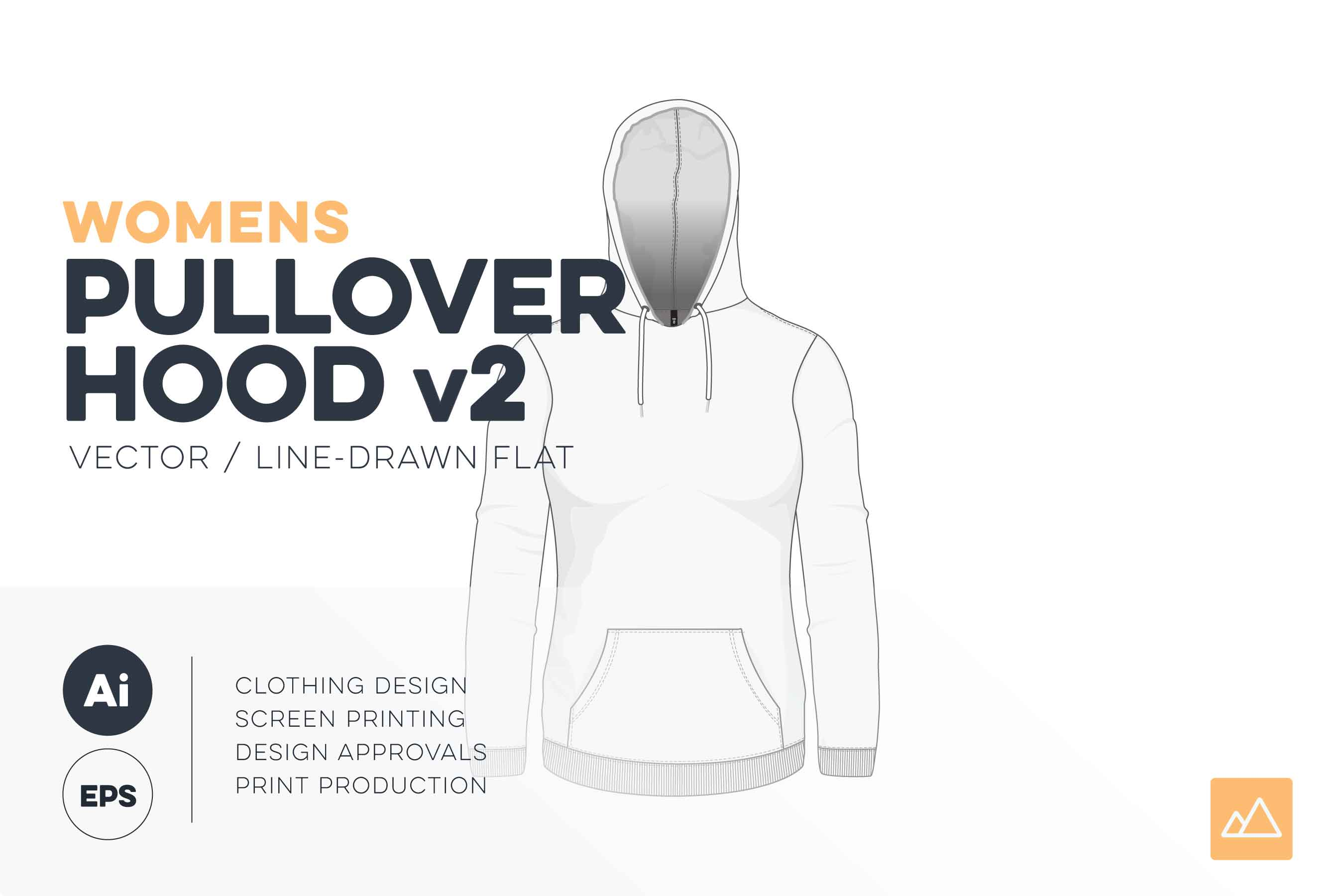 Womens pullover hoodie template version 2 vector pack HERO