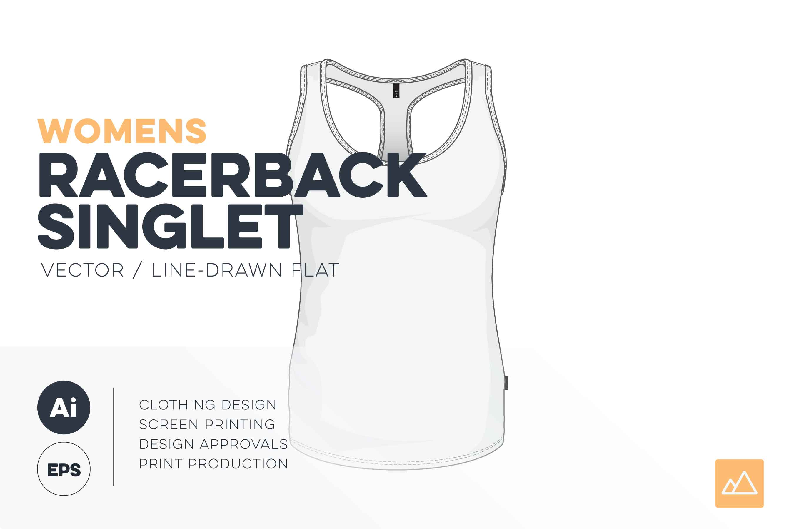 Womens racerback singlet template vector pack