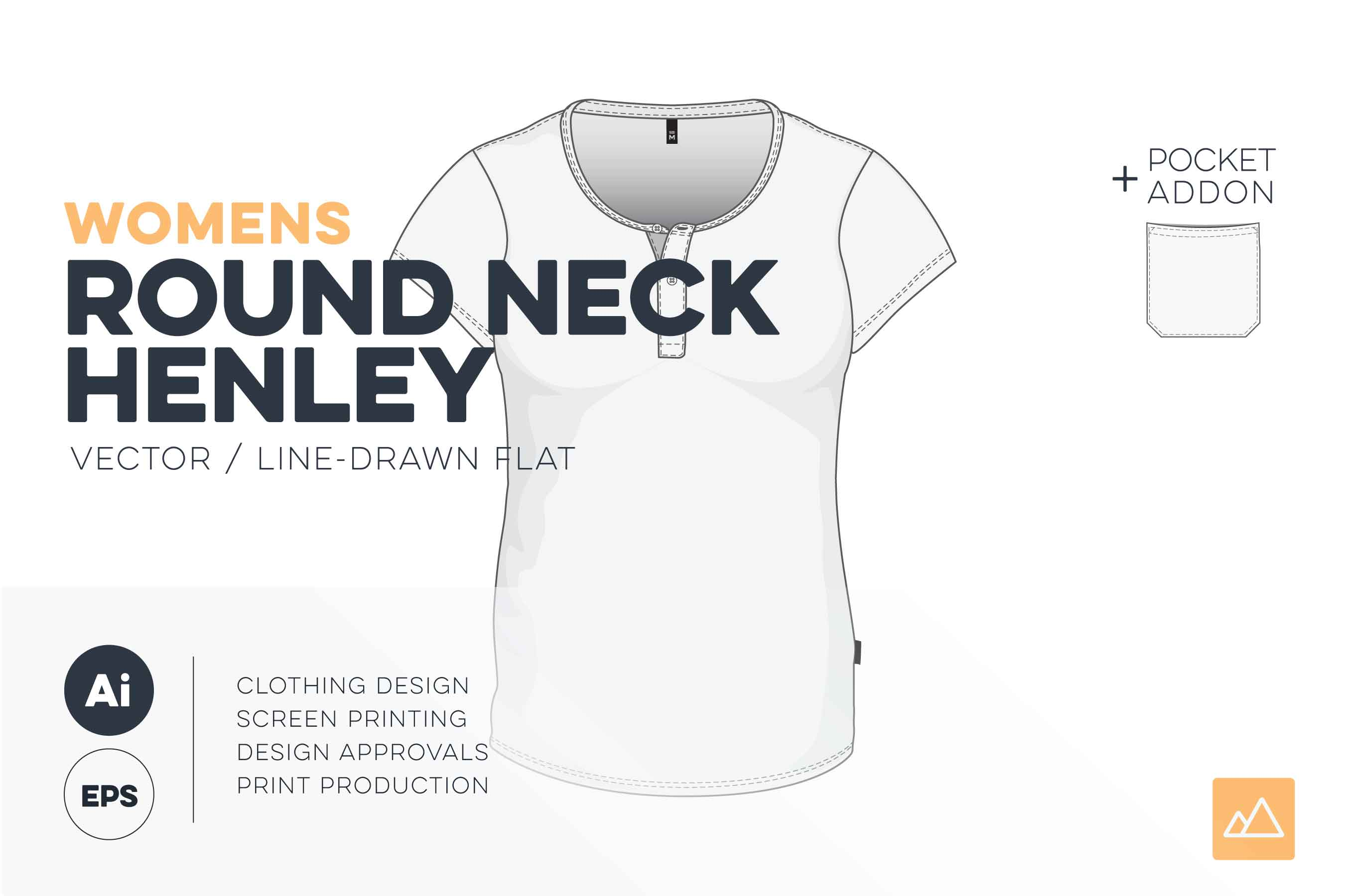 Womens round neck henley t-shirt template vector pack HERO
