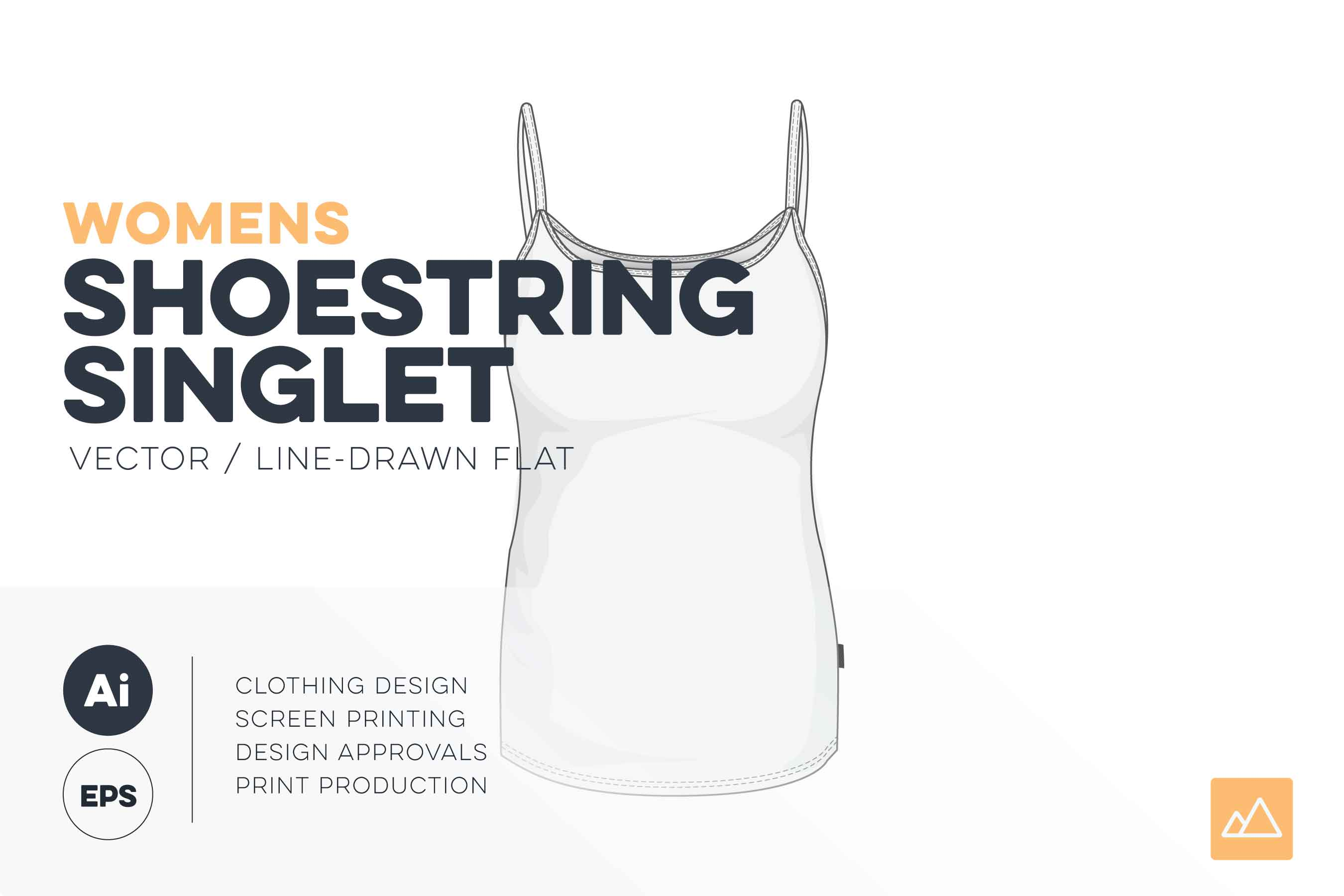 Womens shoestring singlet template vector pack