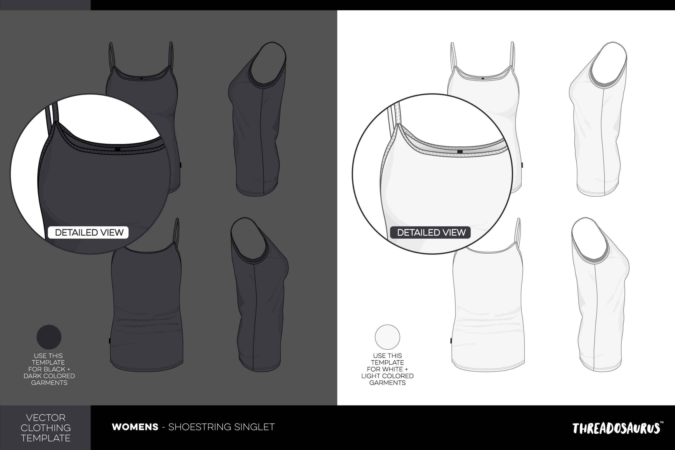 Womens Shoestring Singlet Template - Vector Pack