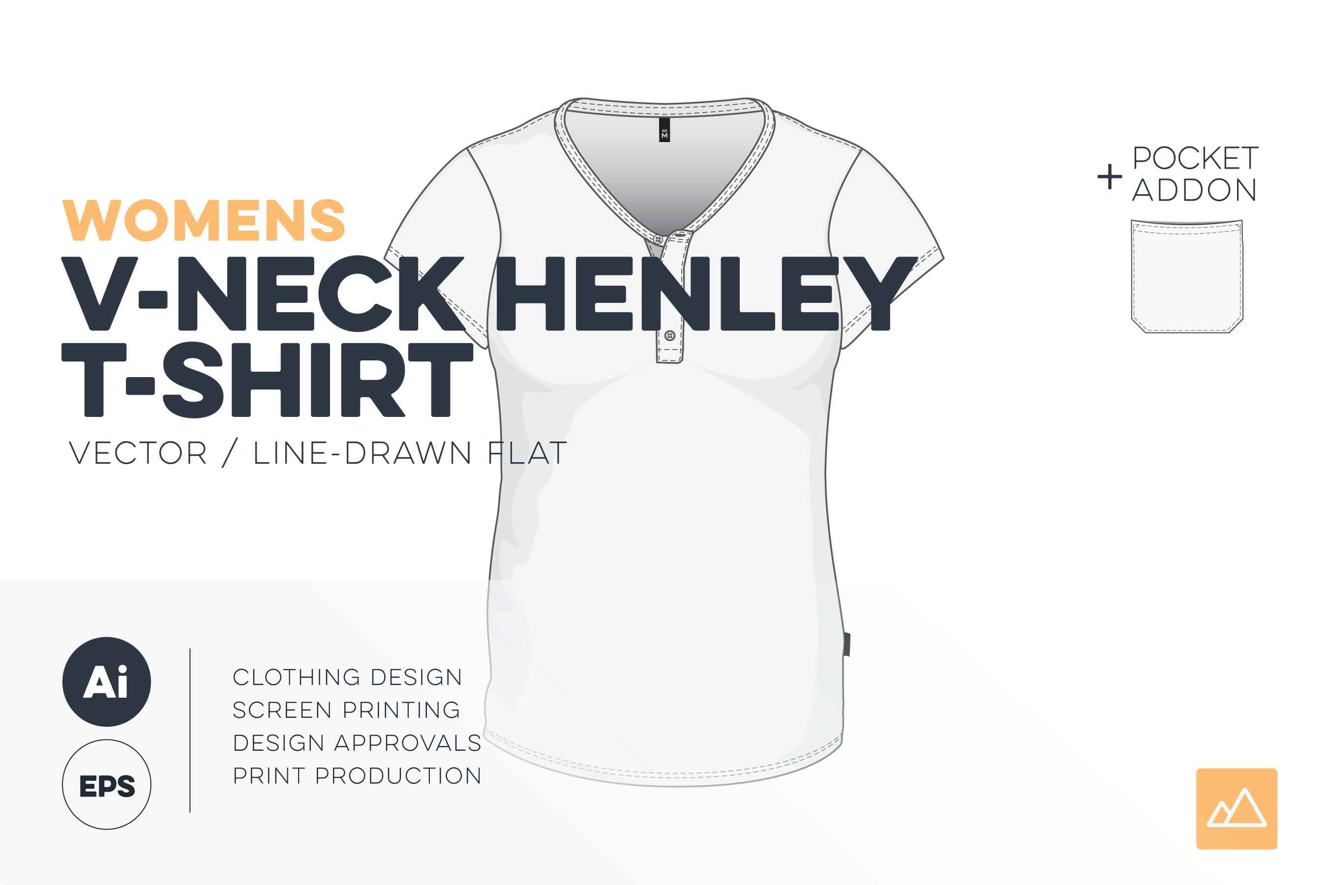 Womens v-neck henley t-shirt template vector pack HERO