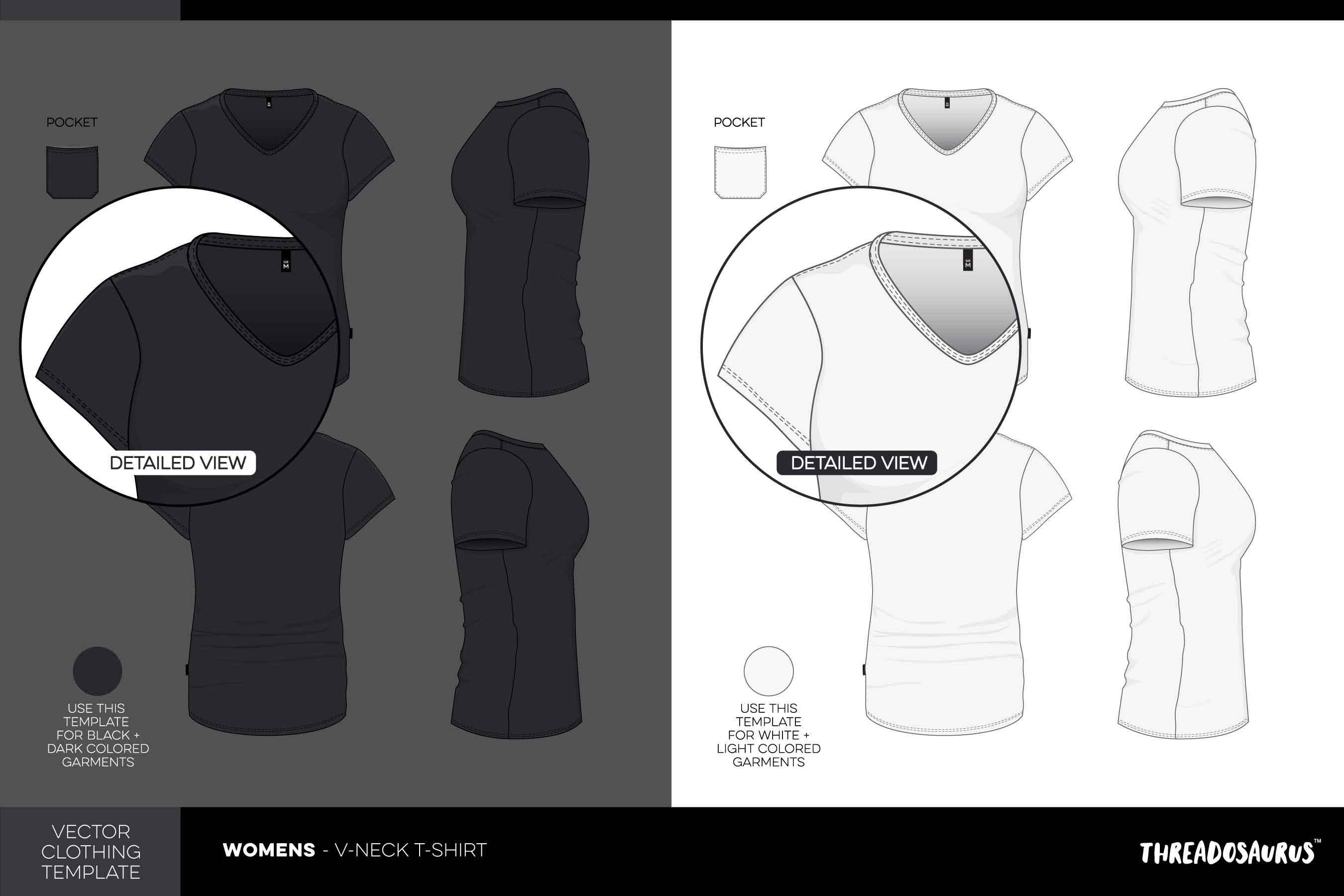 Womens v-neck t-shirt template vector pack
