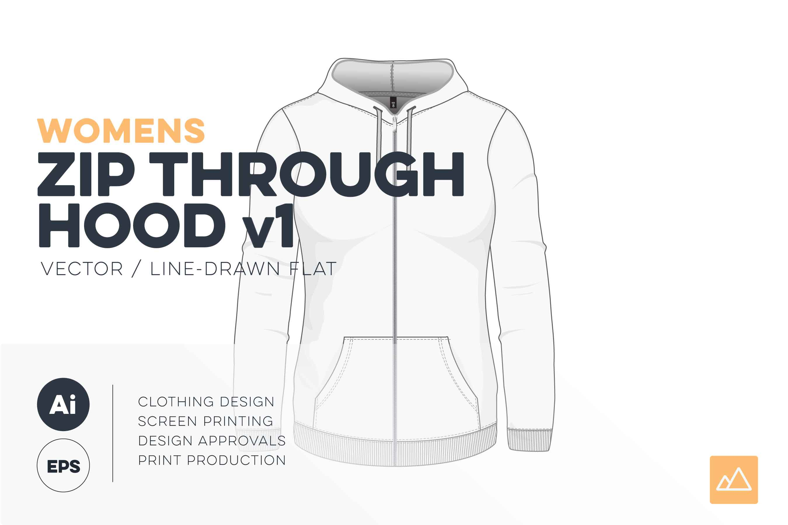 Womens zip through hoodie template vector pack HERO