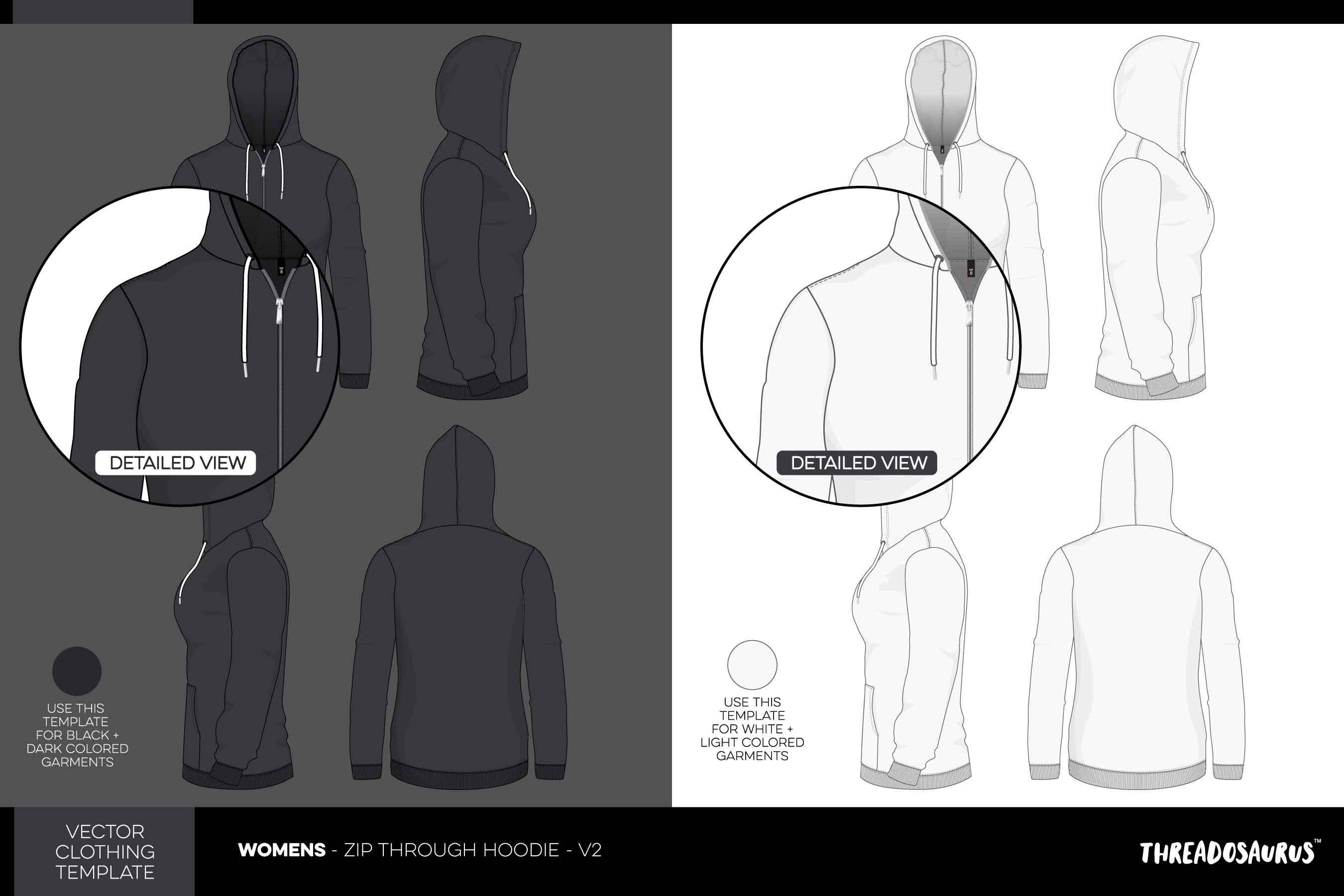 Womens zip through hoodie template vector v2 hood up