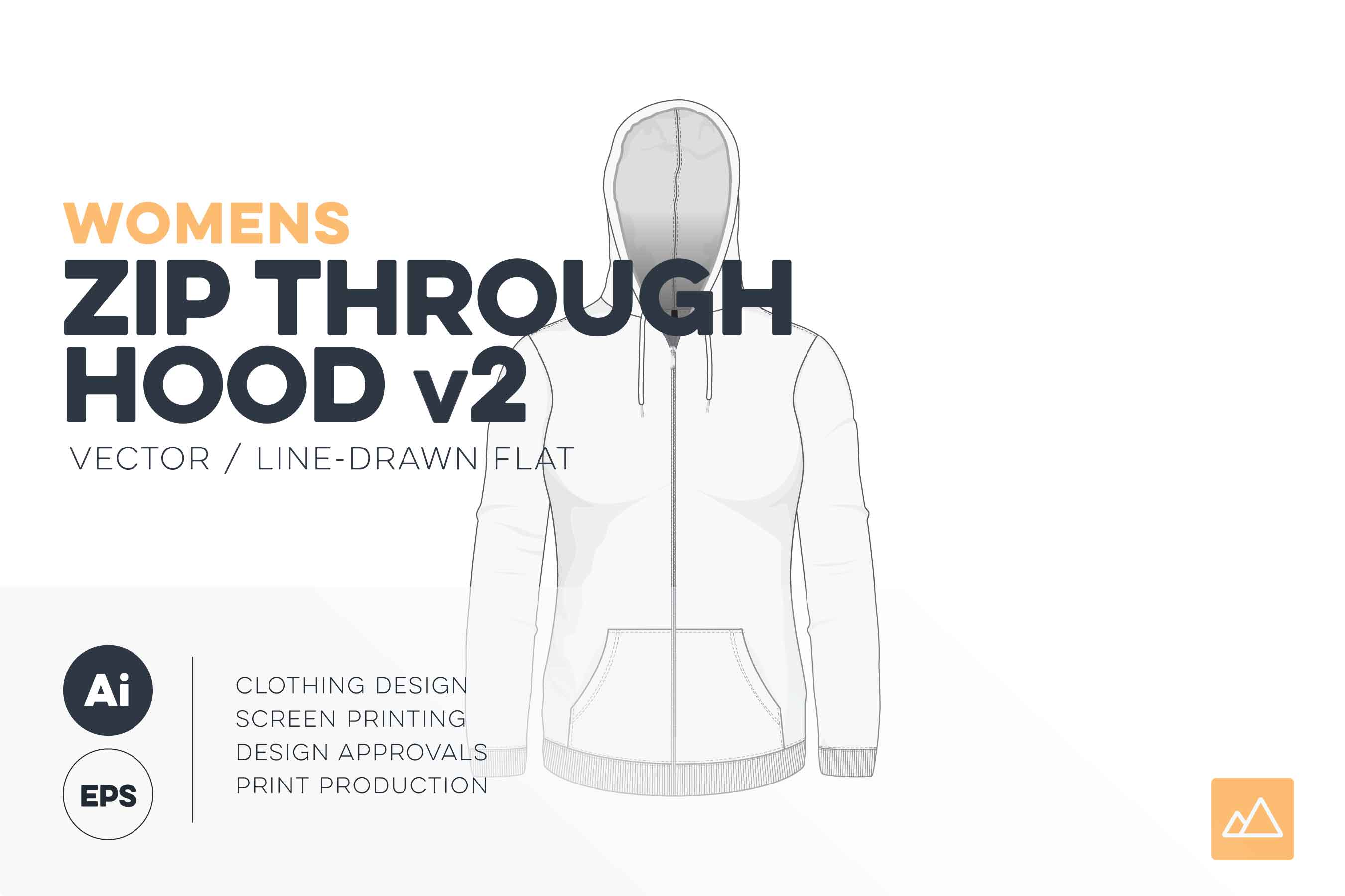 Womens zip through hoodie template vector v2 hood up HERO
