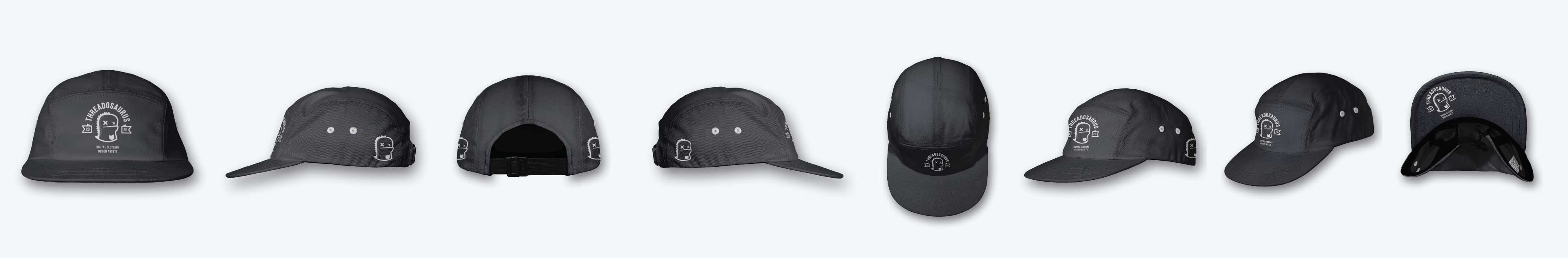 five panel cap mockup template front back side angled