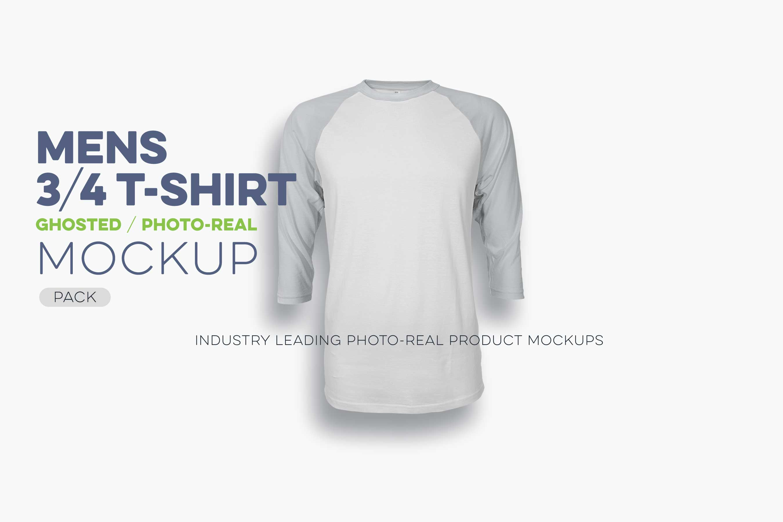 mens ghosted 3-4 sleeve t-shirt mockup template 2