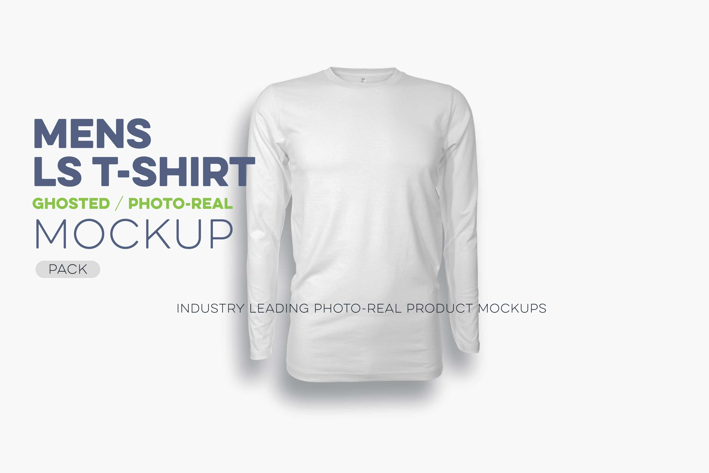 mens ghosted long sleeve t-shirt mockup template N