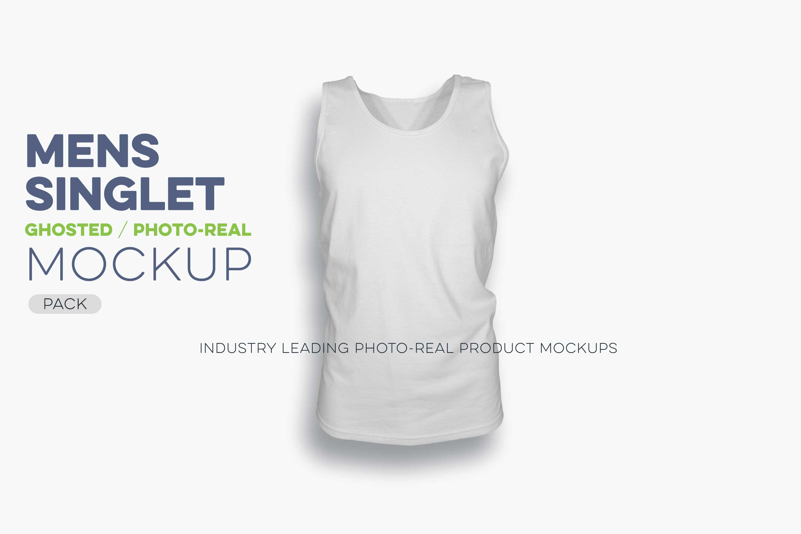 mens ghosted singlet mockup template N