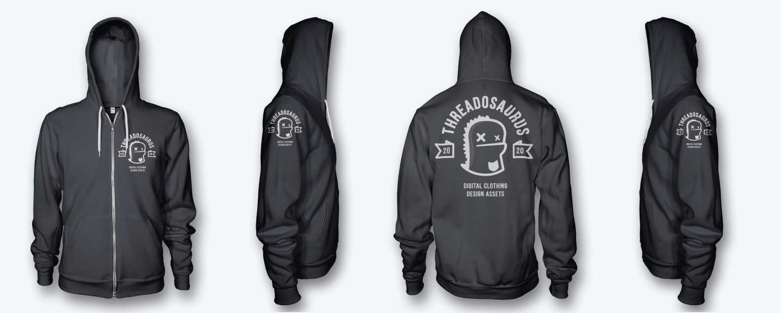 mens zip hoodie mockup front back side hood up 0
