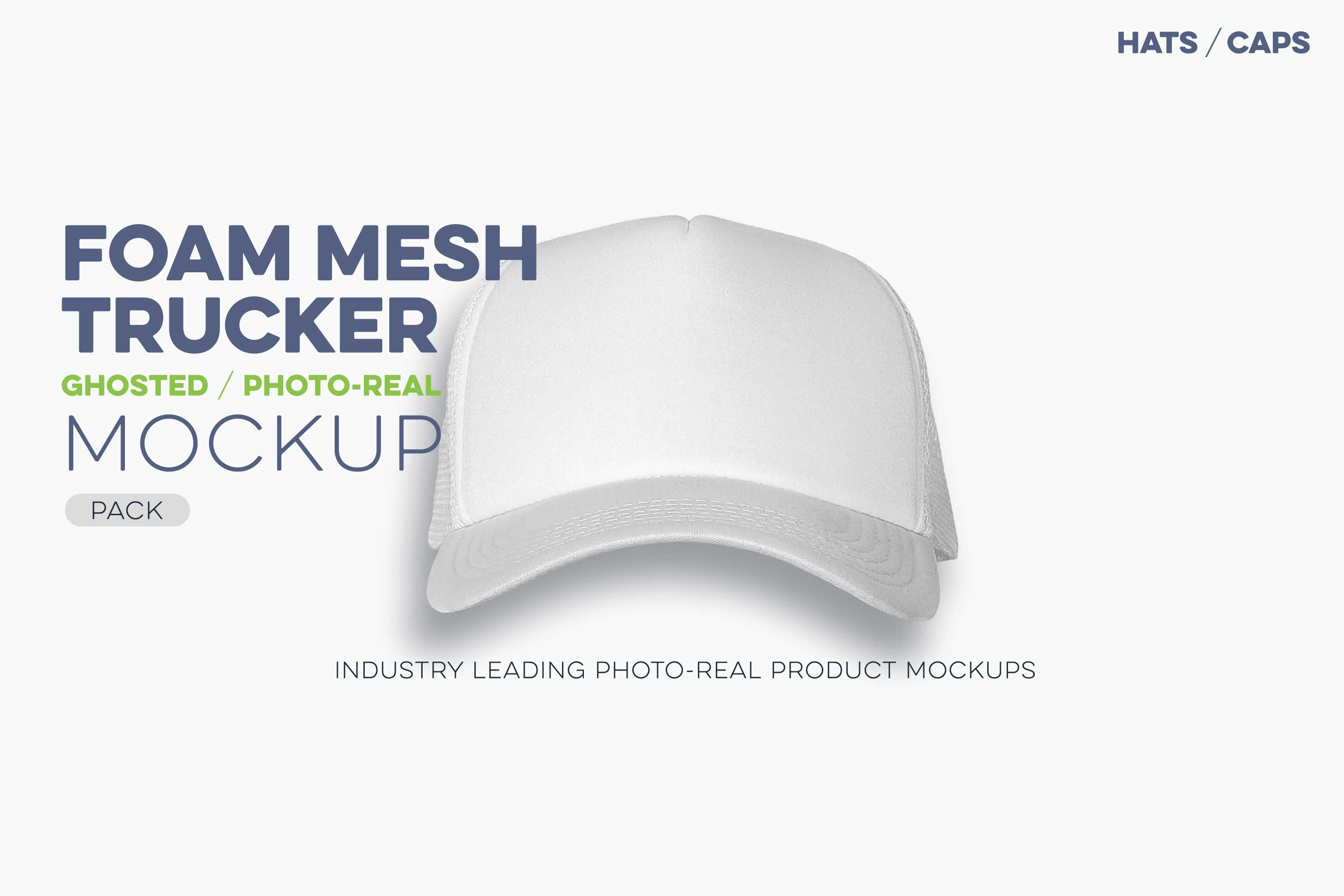 mesh trucker cap mockup template ghosted baseball cap N