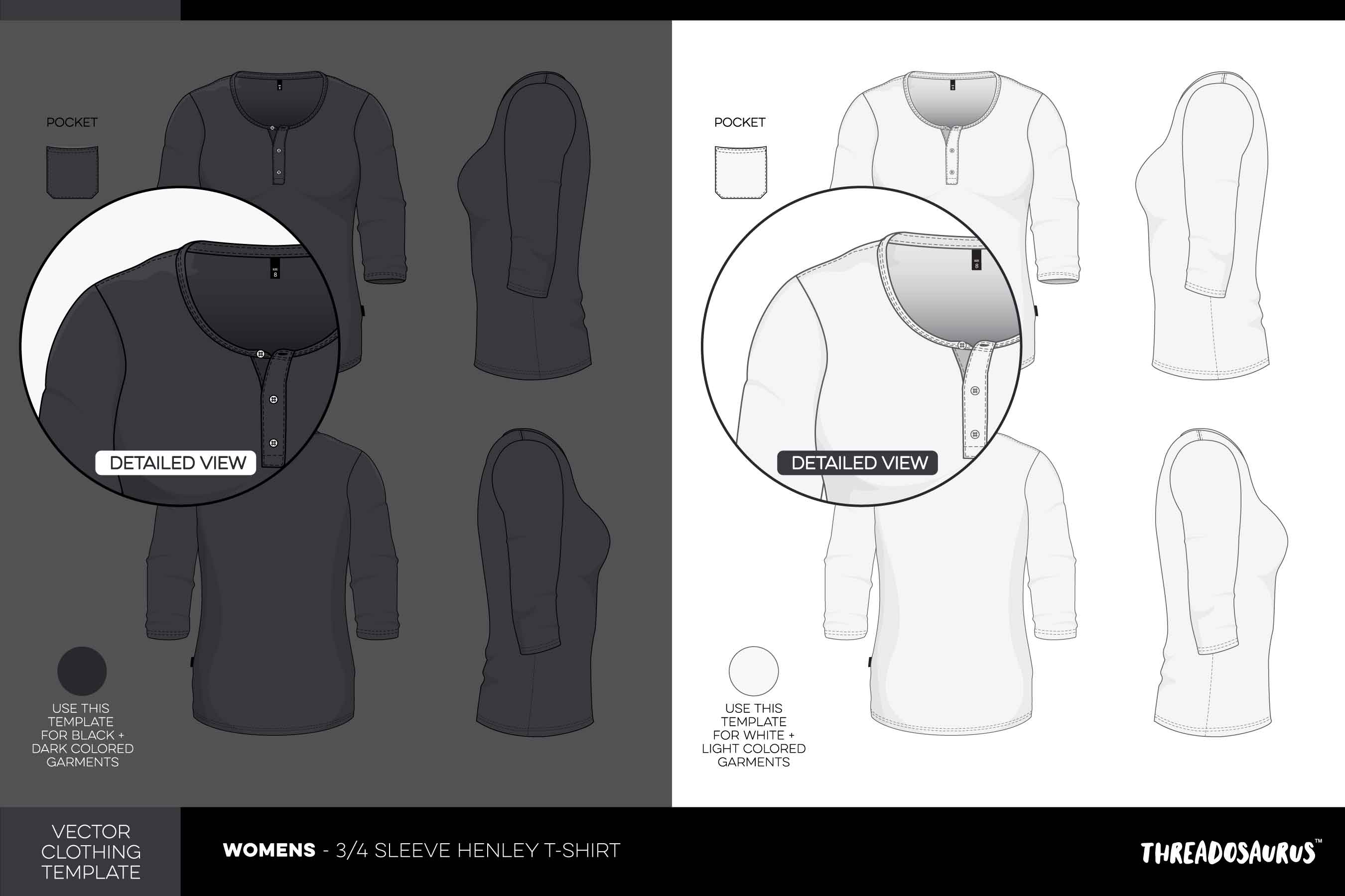 womens 3/4 sleeve henley t-shirt template vector pack