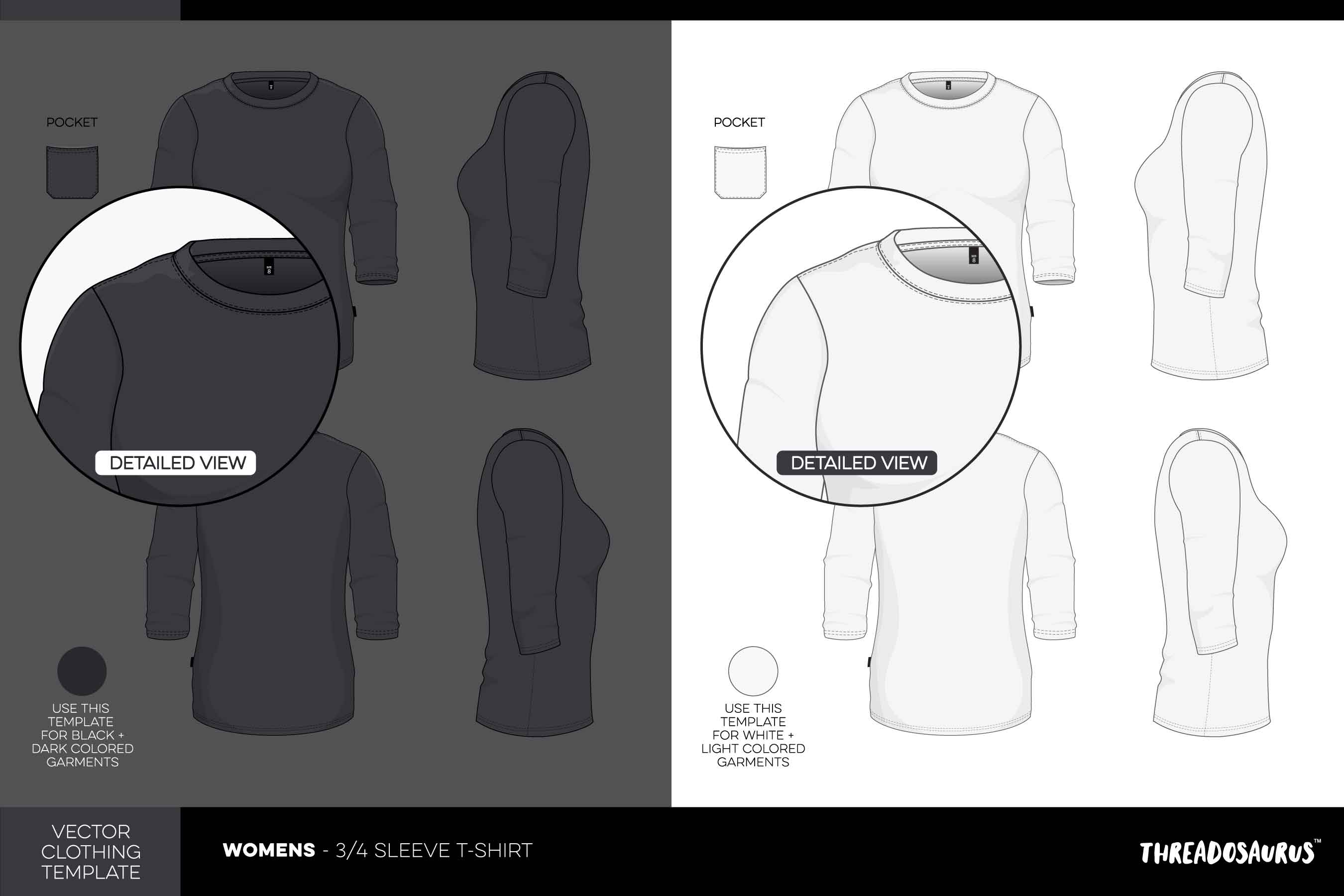 womens 3/4 sleeve t-shirt template vector pack