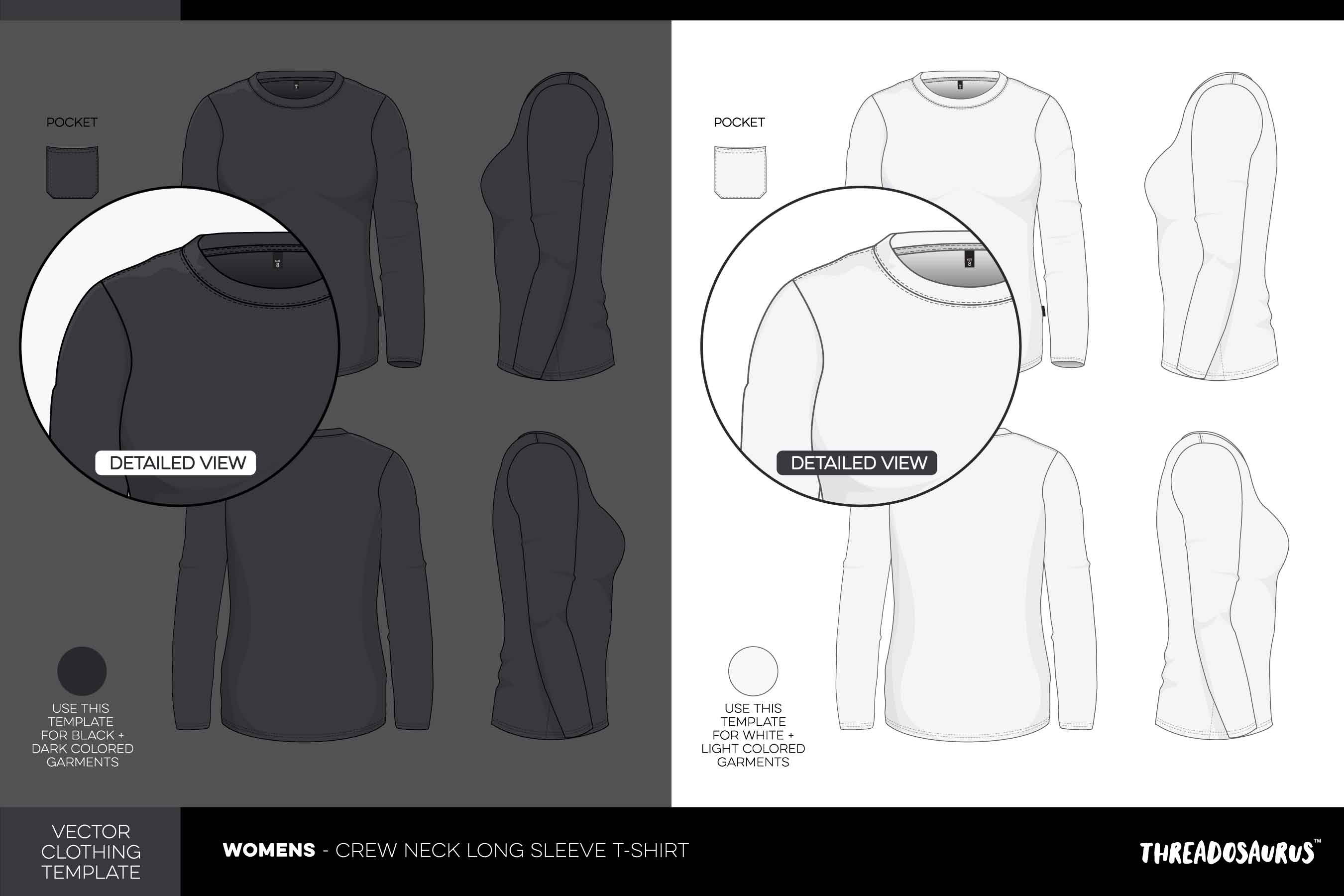 womens crew neck long sleeve t-shirt template vector