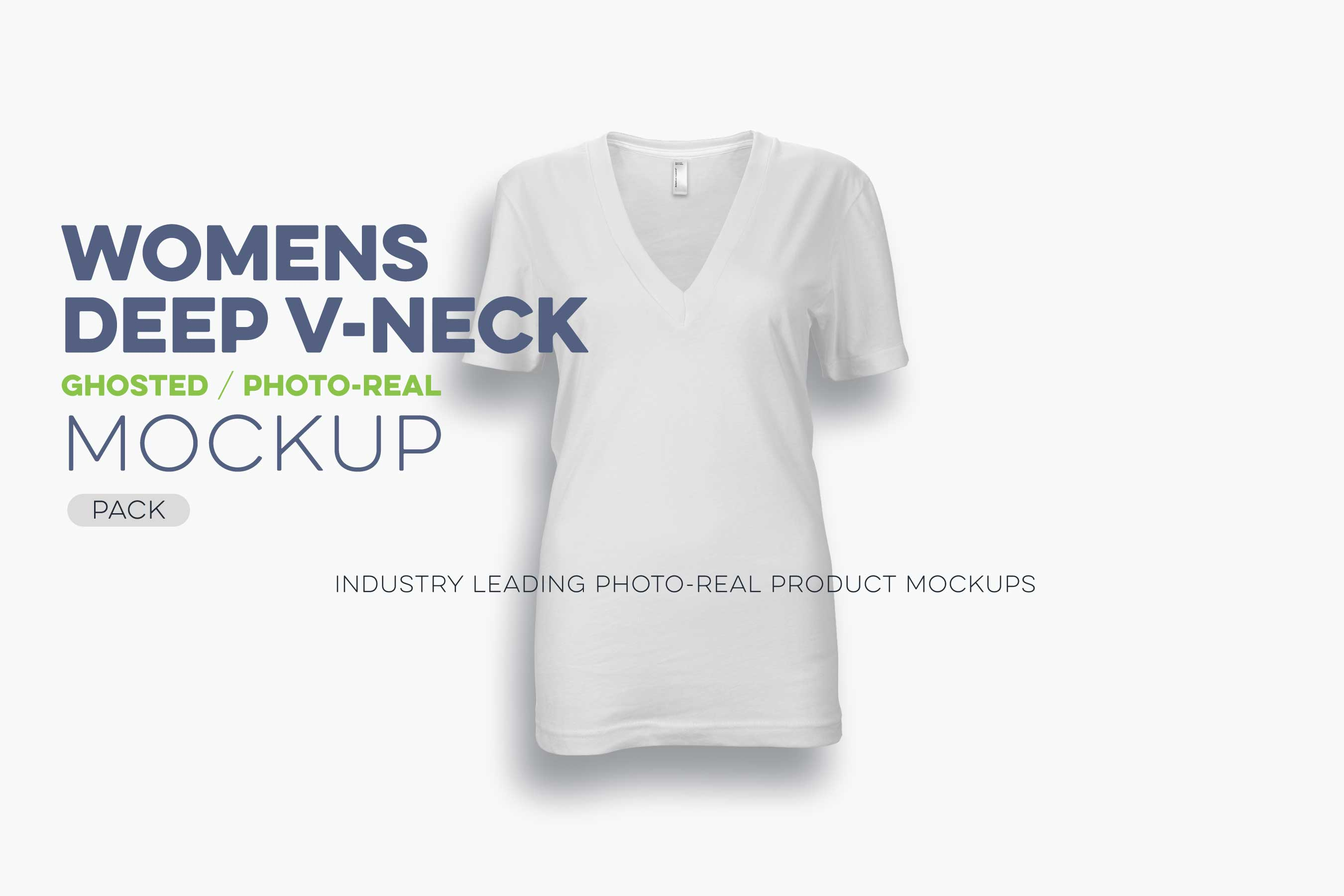 womens ghosted deep v-neck t-shirt mockup template N