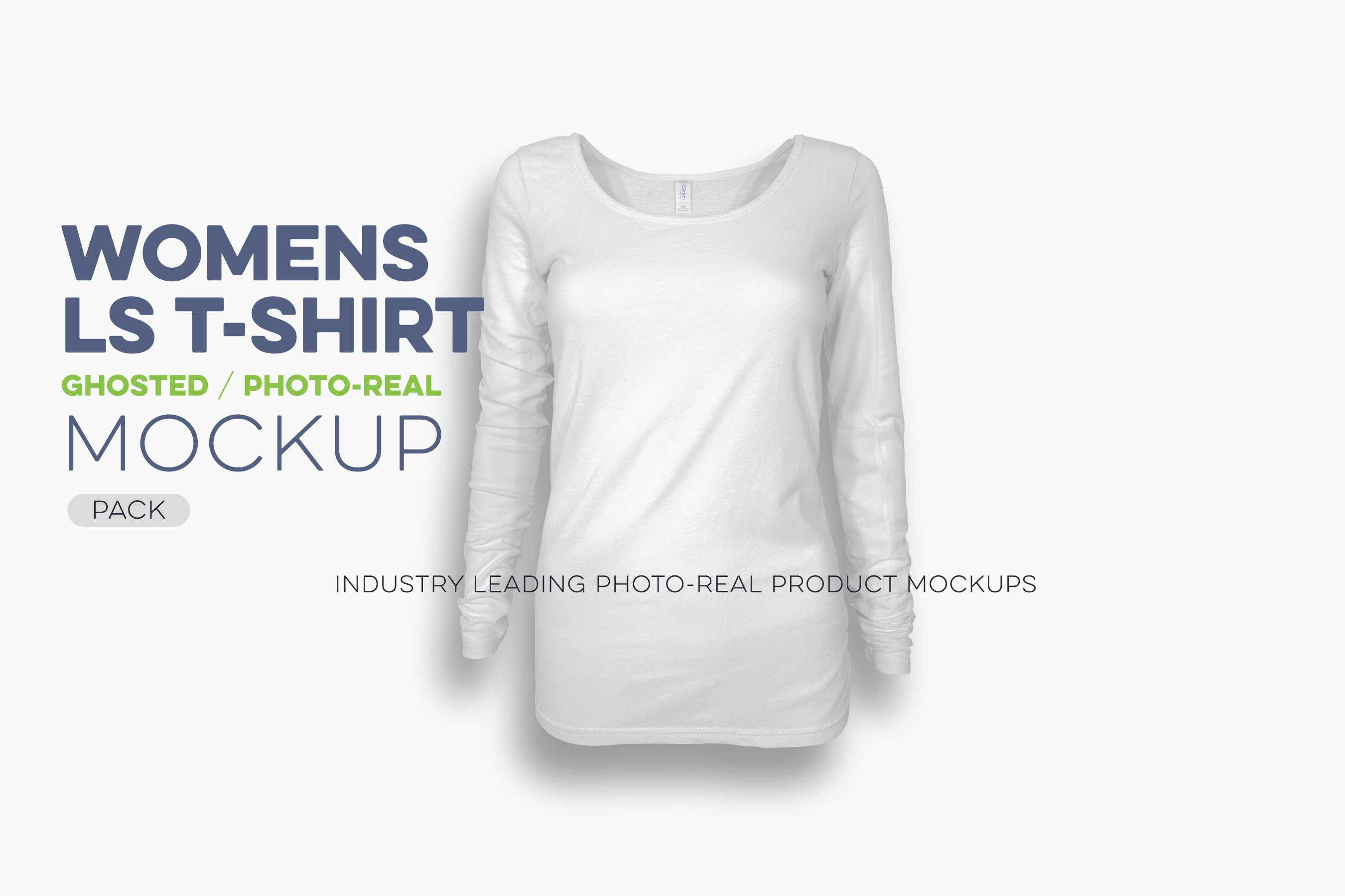 womens ghosted long sleeve t-shirt mockup template N