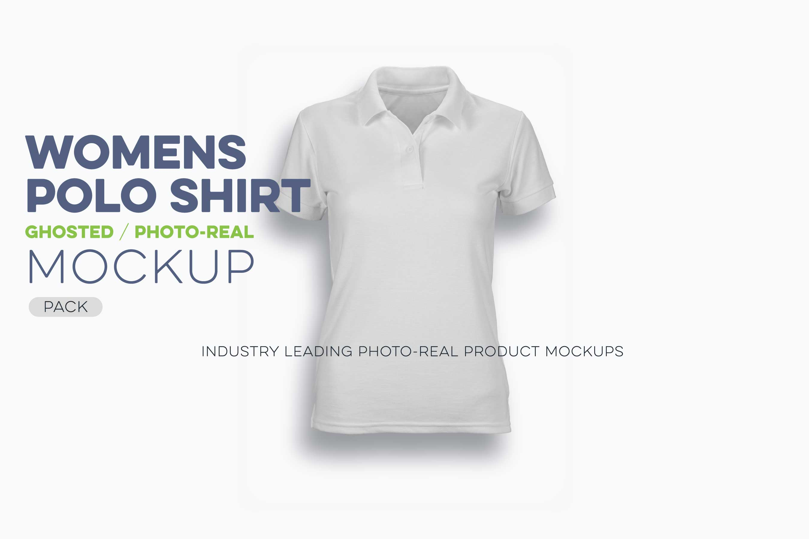 womens ghosted polo shirt mockup template N