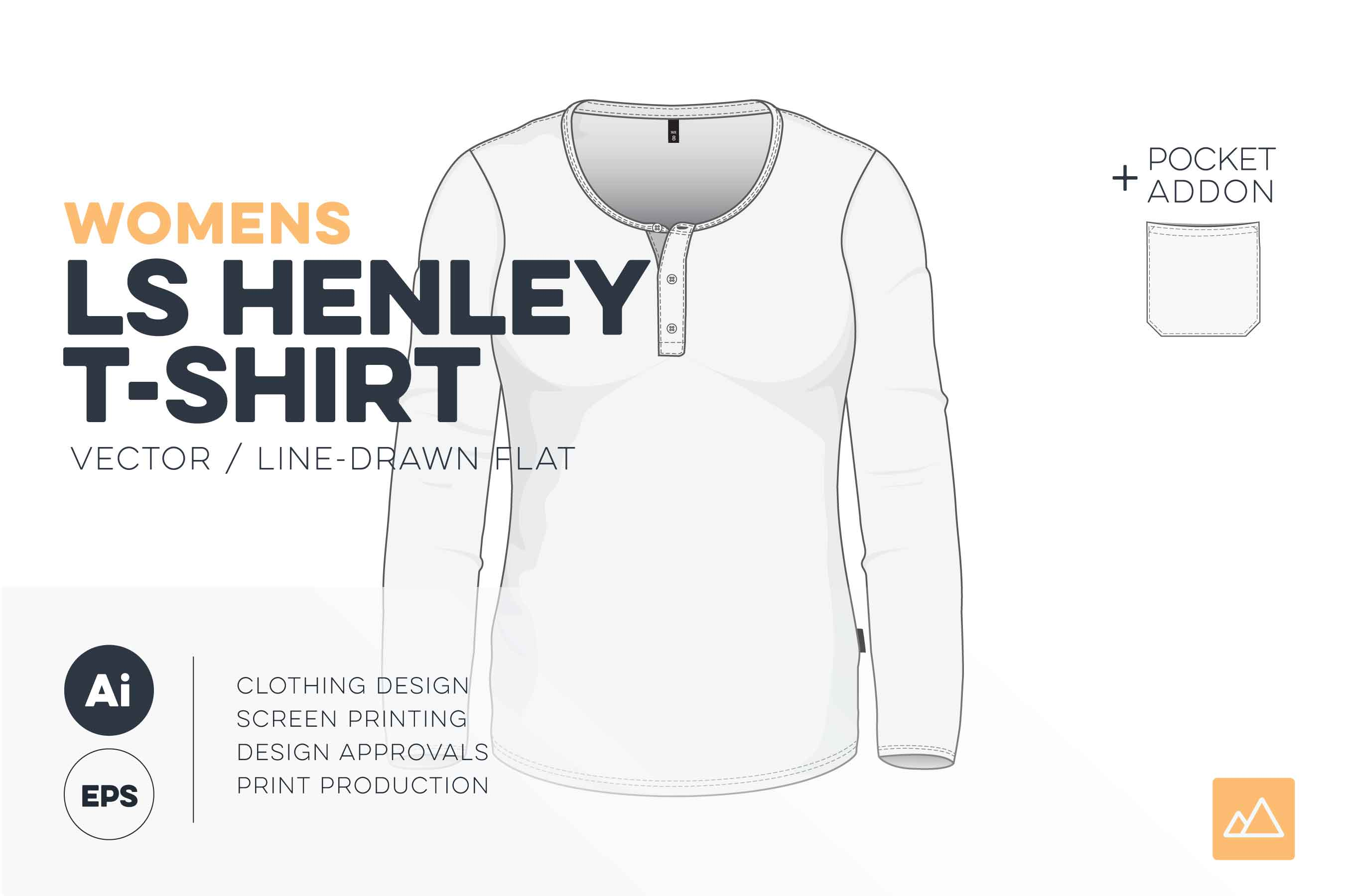 womens long sleeve henley t-shirt template vector HERO